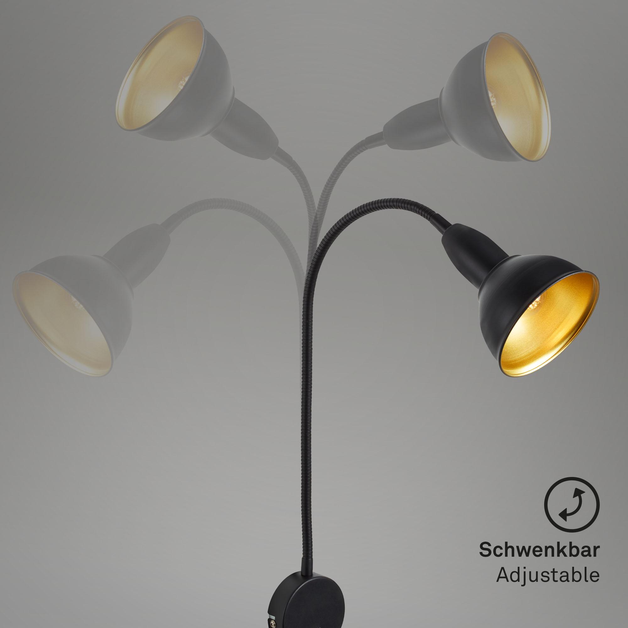 Spot Wandleuchte, 70,9 cm, max. 25 W, Schwarz-Gold