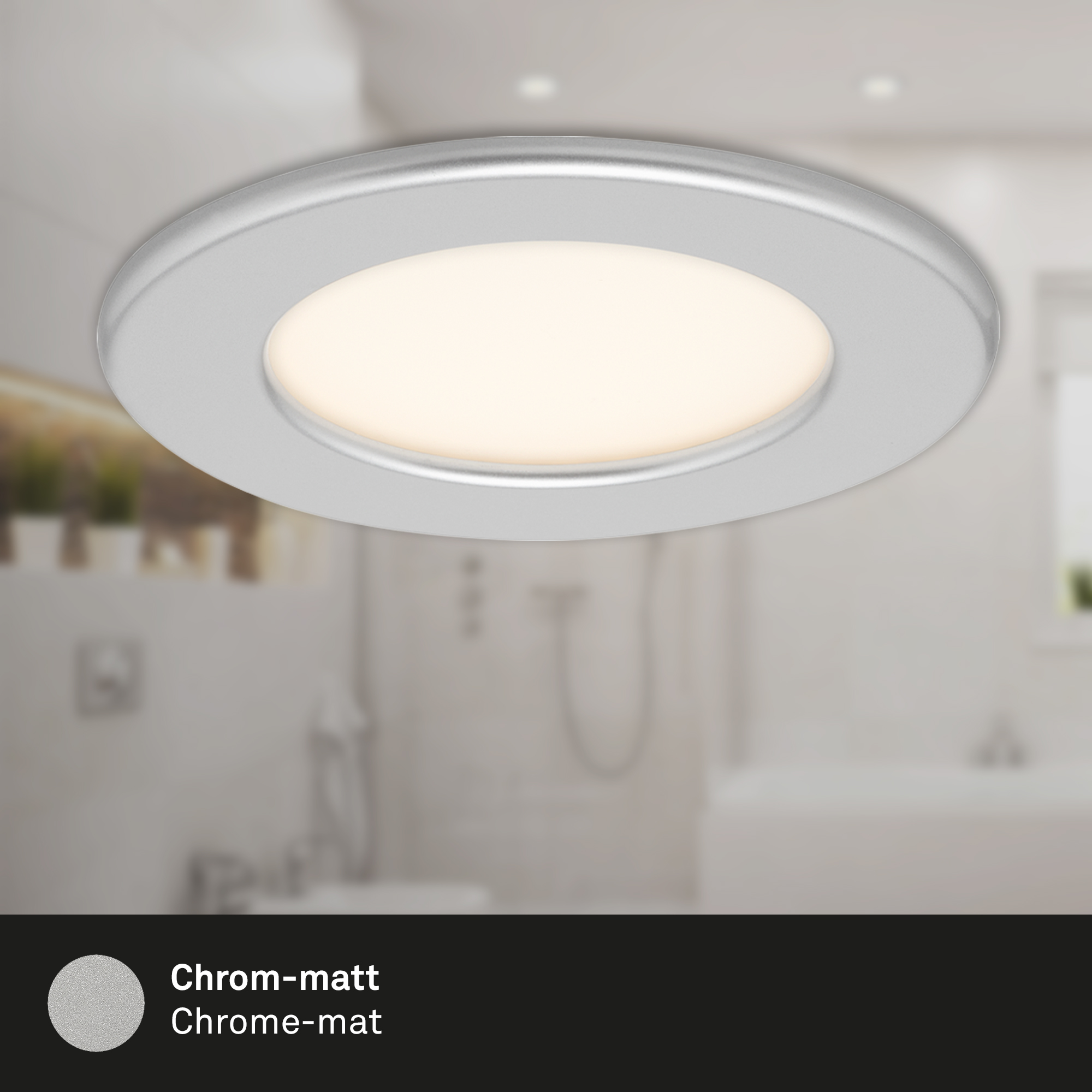 3er Set LED Einbauleuchte Chrom-Matt