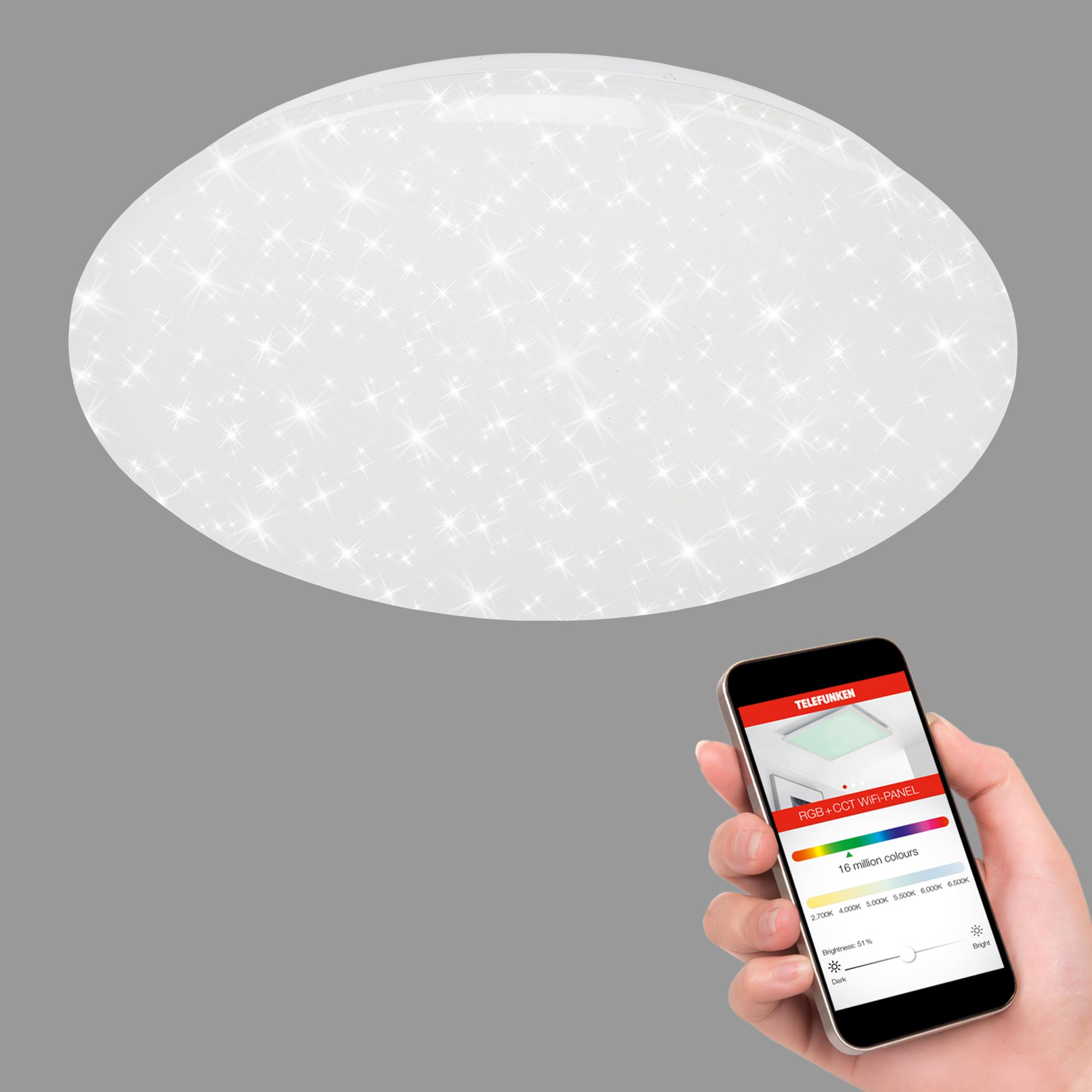 TELEFUNKEN Smart LED Deckenleuchte, Ø 50 cm, 40 W, Weiß