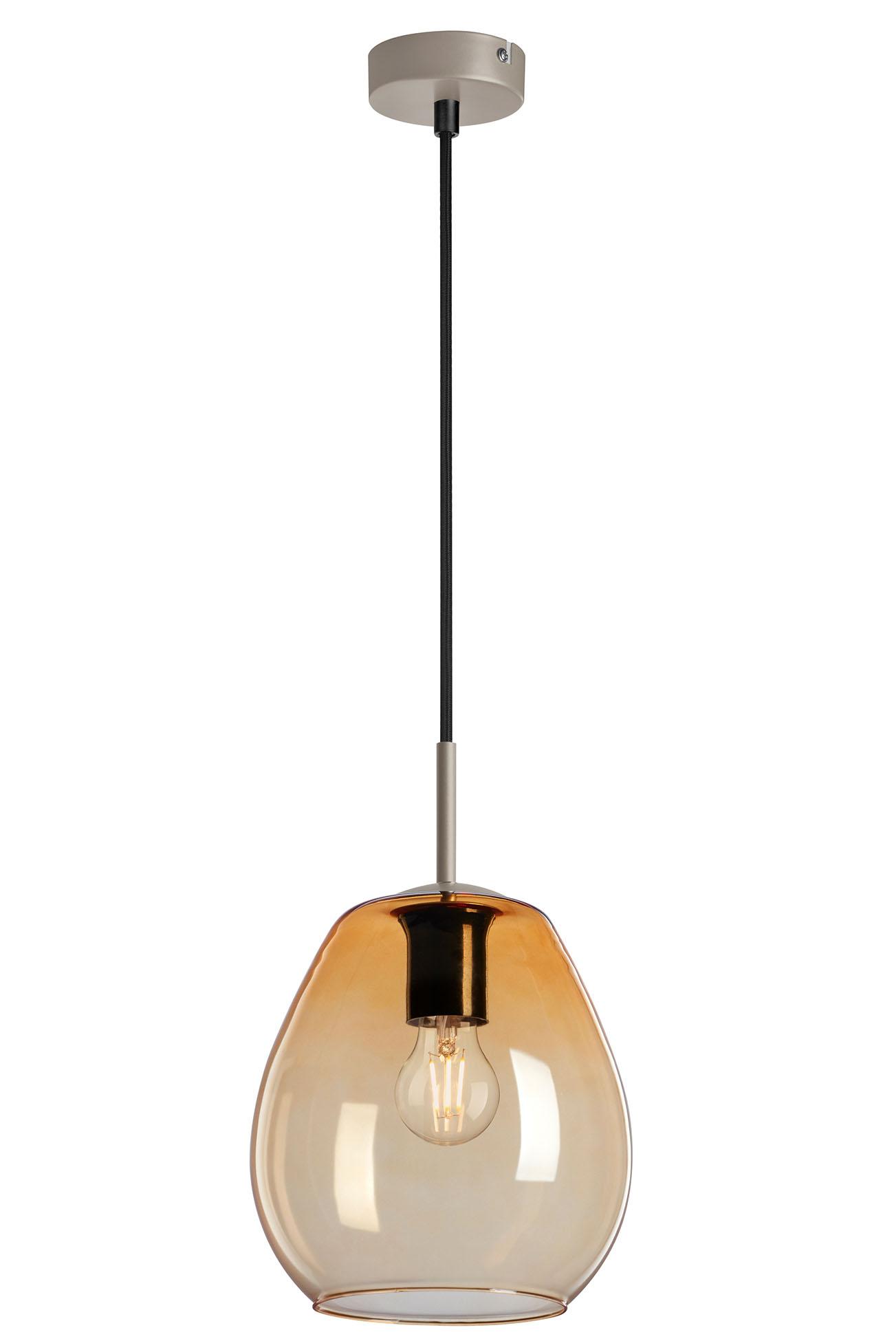 Pendelleuchte, Ø 22 cm, max. 40 W, Amber-Gold