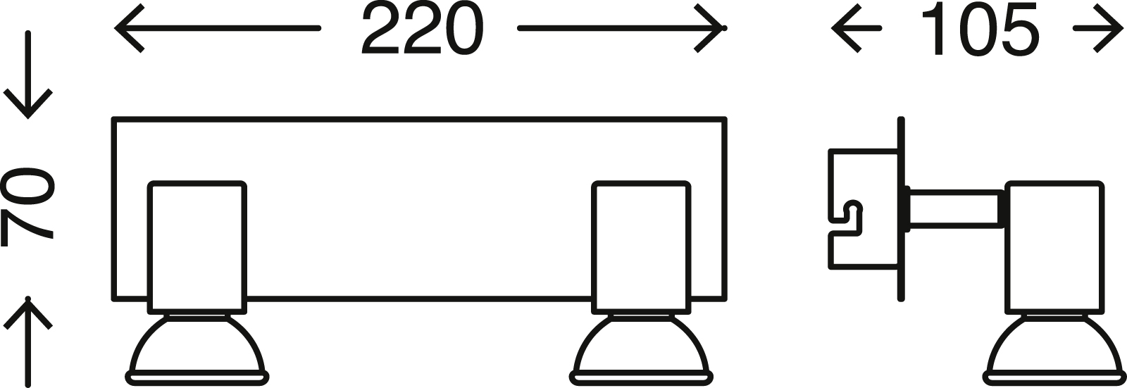 LED Spot Deckenleuchte, 22 cm, 8 W, Chrom