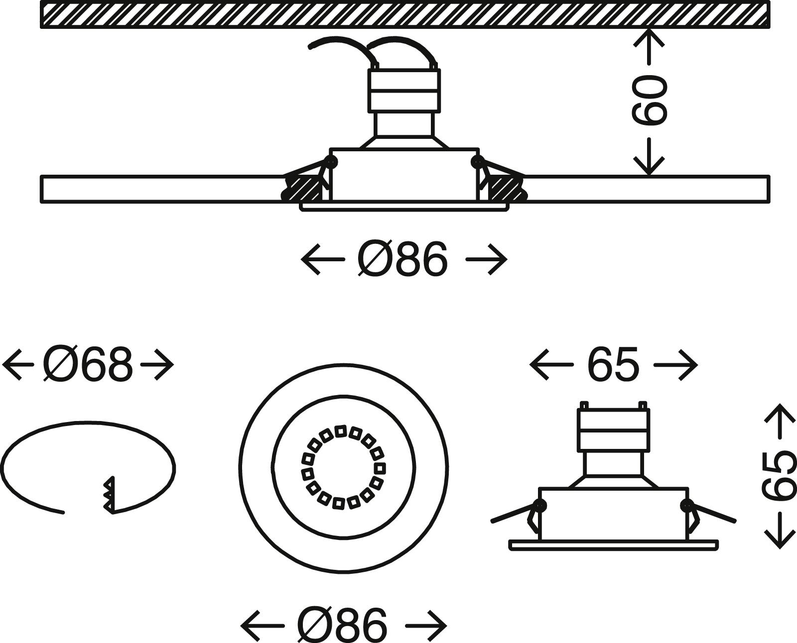 3er Set Einbauleuchte, Ø 8,6 cm, Matt-Nickel