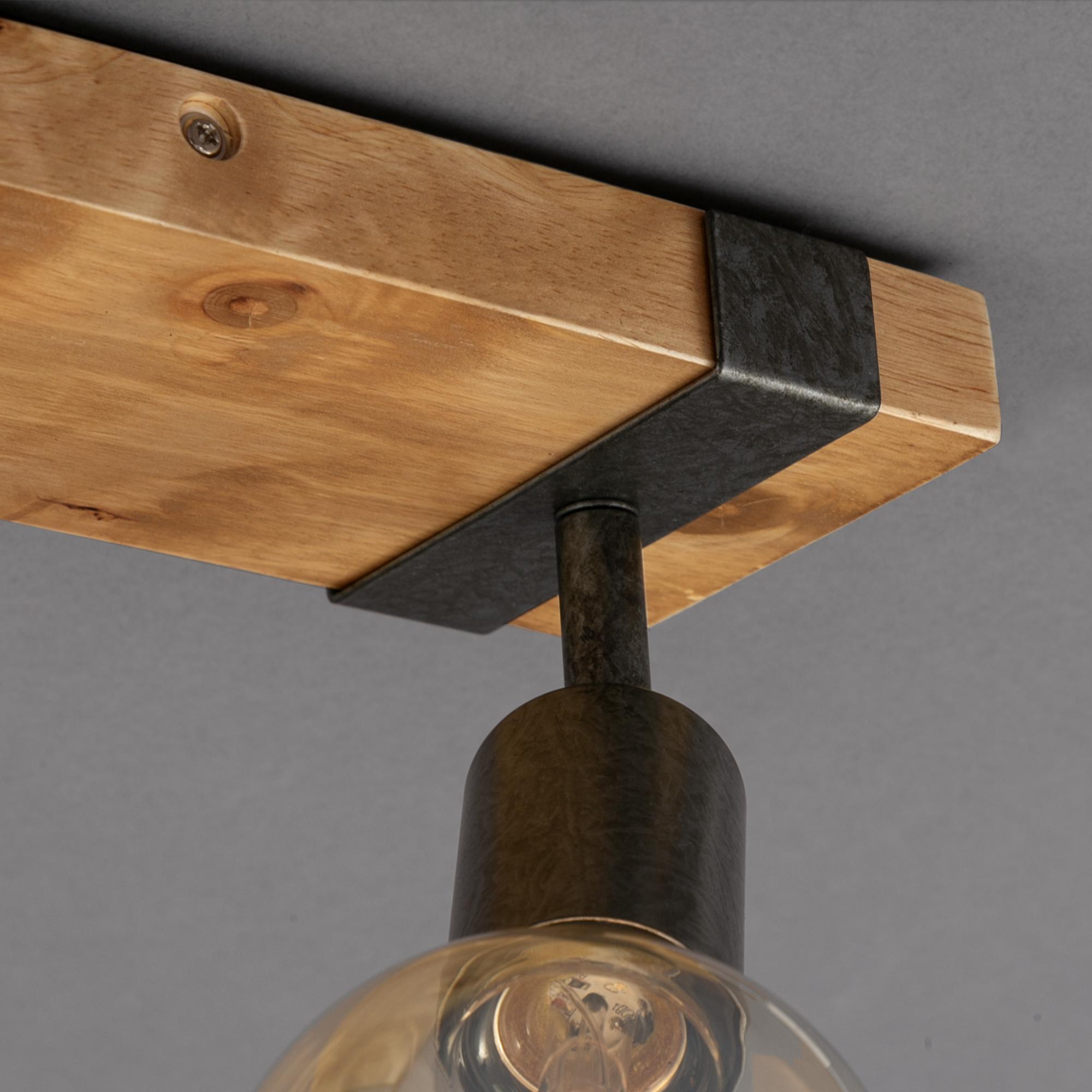 Spot Deckenleuchte Grau-Holz