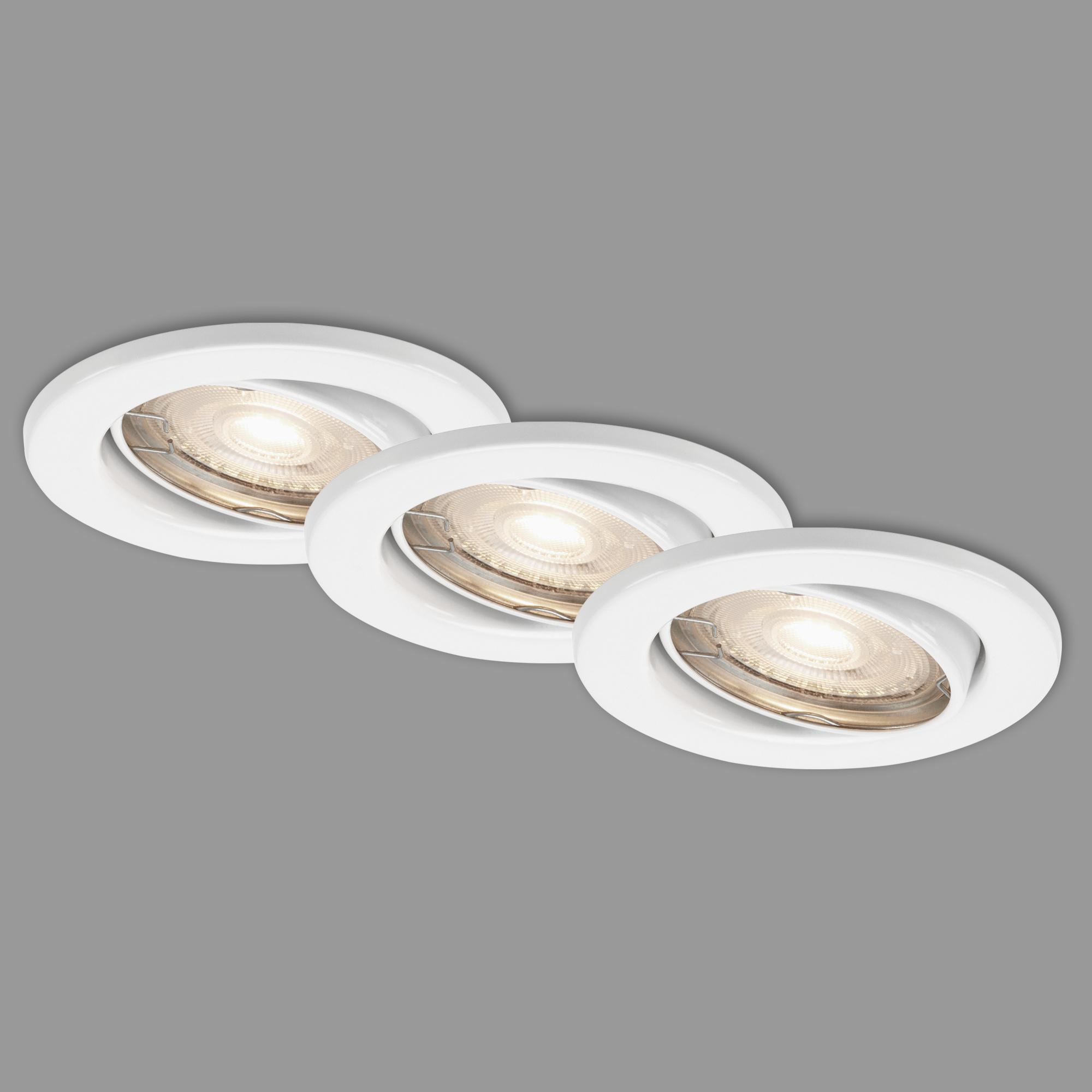 3er LED Einbauleuchte, Ø 8,6 cm, 5 W, Weiss