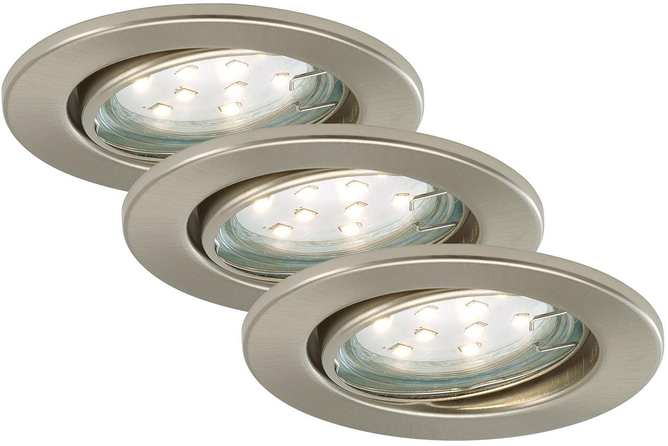 3er Set LED Einbauleuchte, Ø 8,6 cm, 3 W, Matt-Nickel