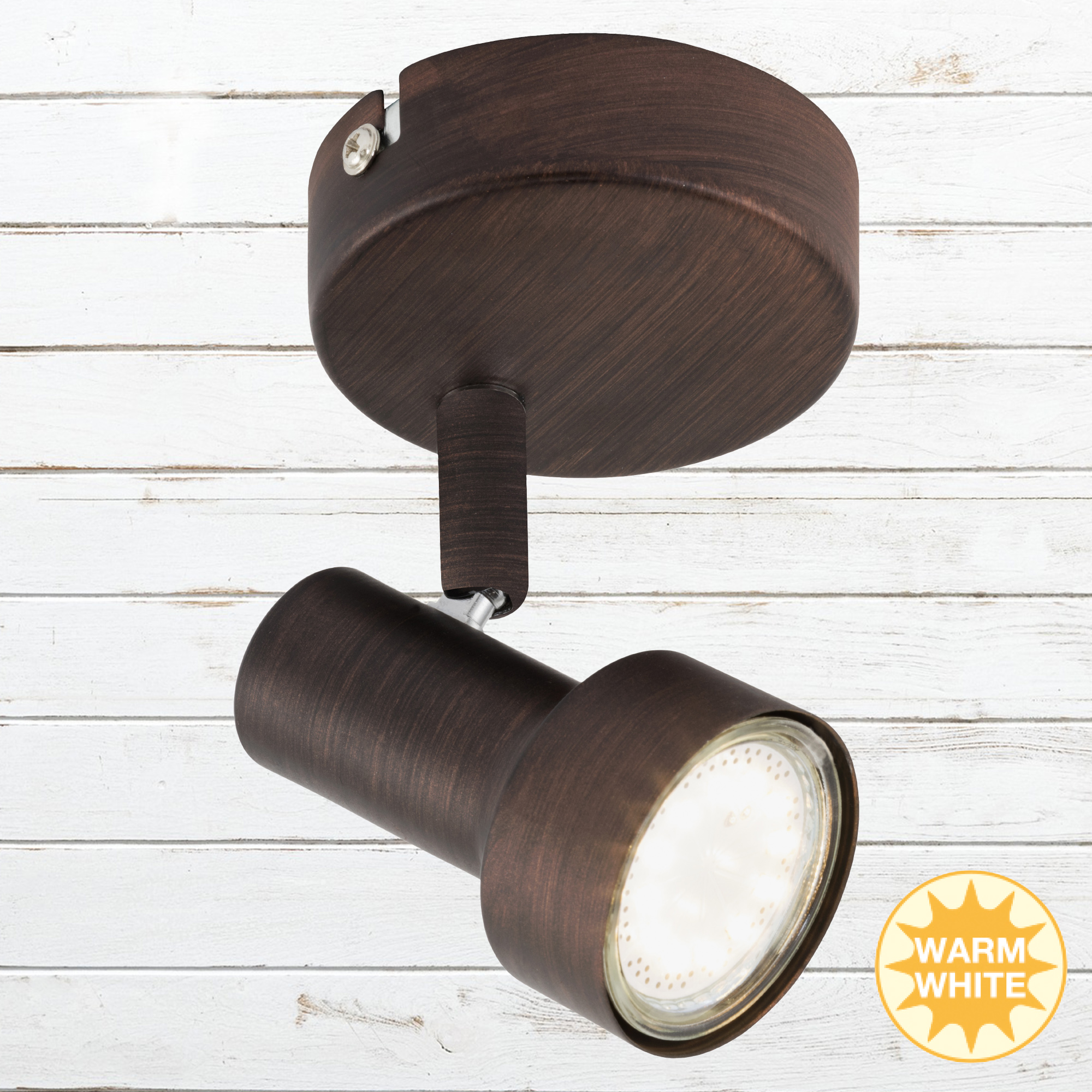 LED Spot Wandleuchte, Ø 8 cm, 3 W, Kupfer