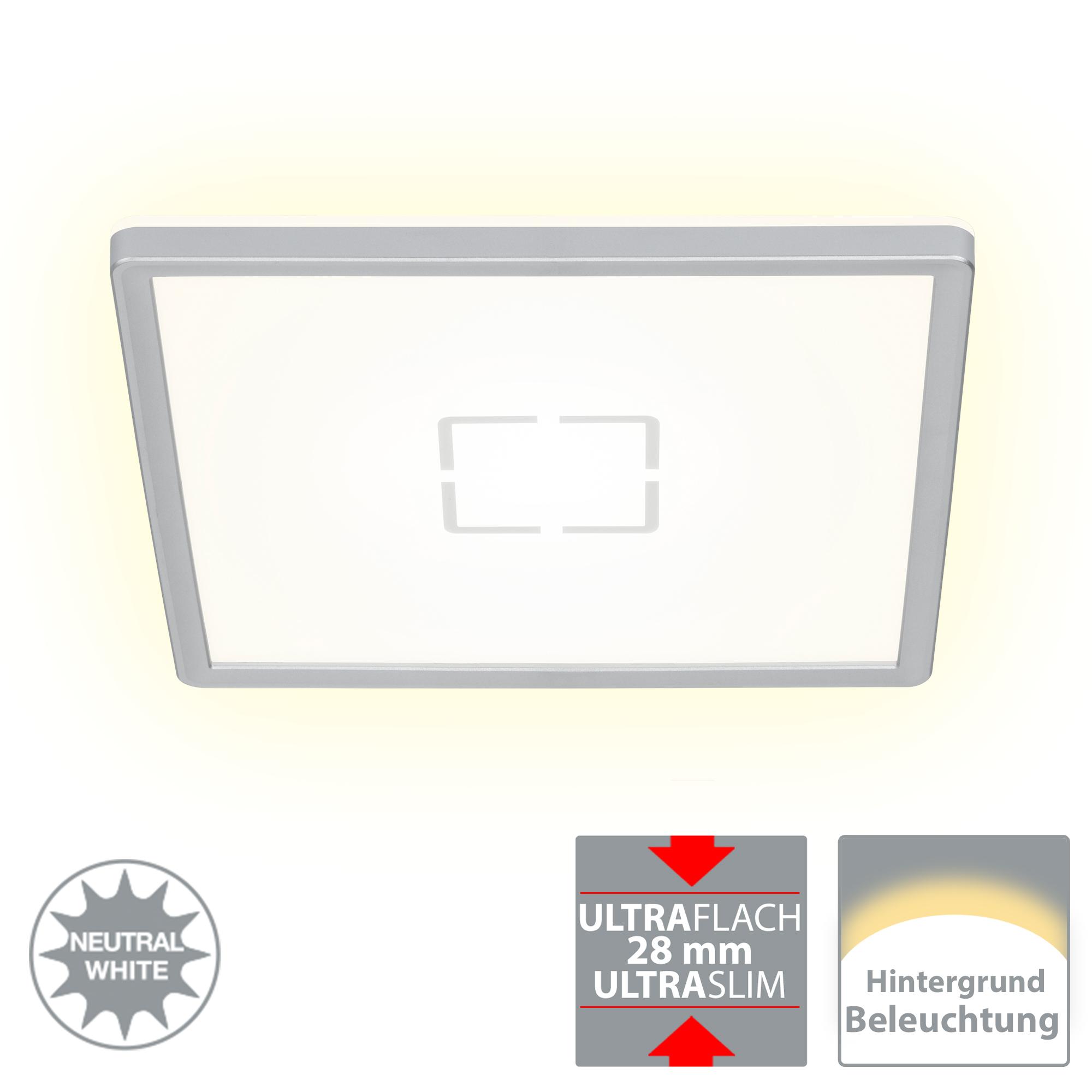 Slim LED Panel, 29,3 cm, 2400 LUMEN, 18 WATT, Silber