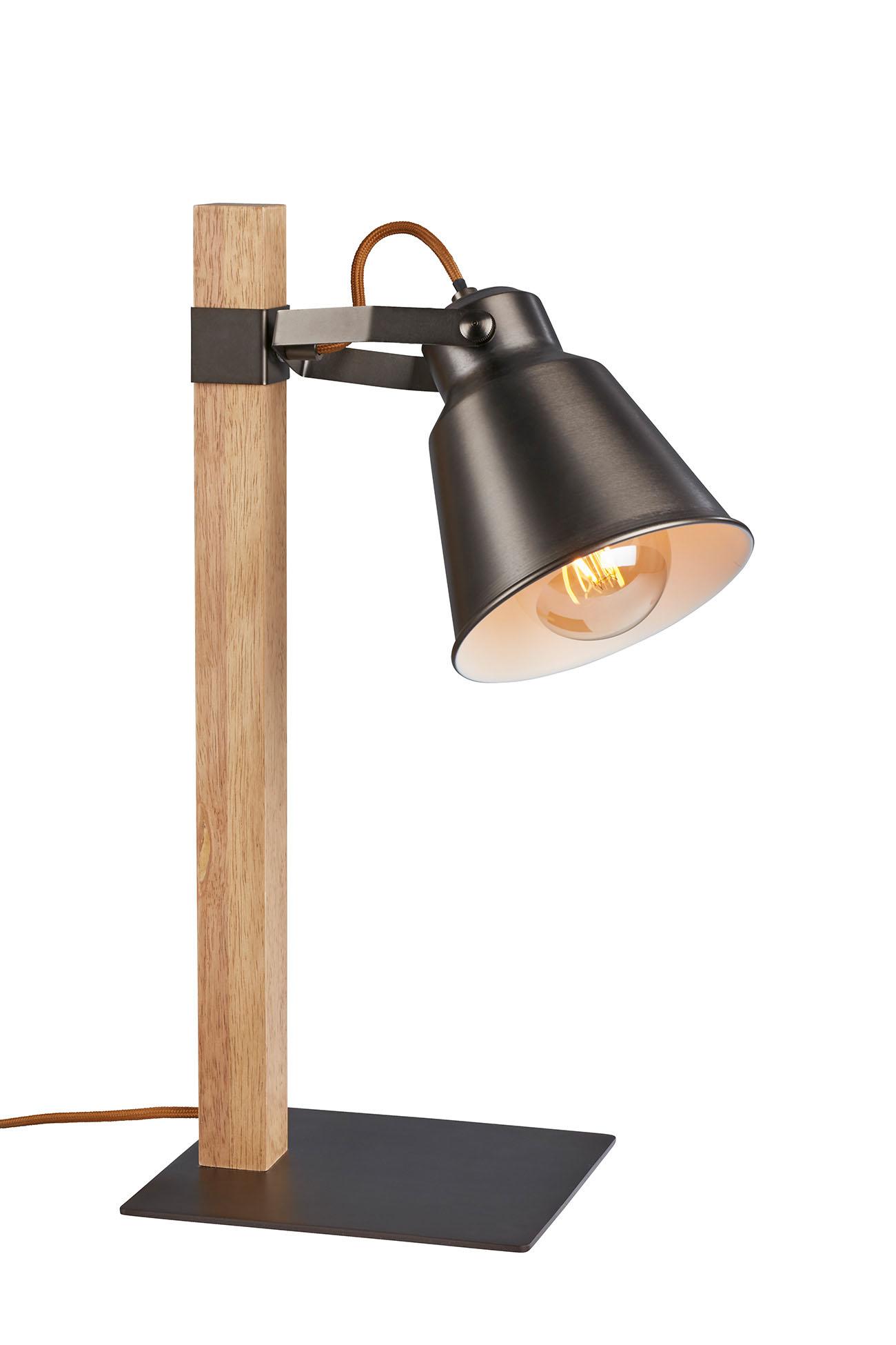 Tischleuchte, 20 cm, max. 25 W, Grau-Holz