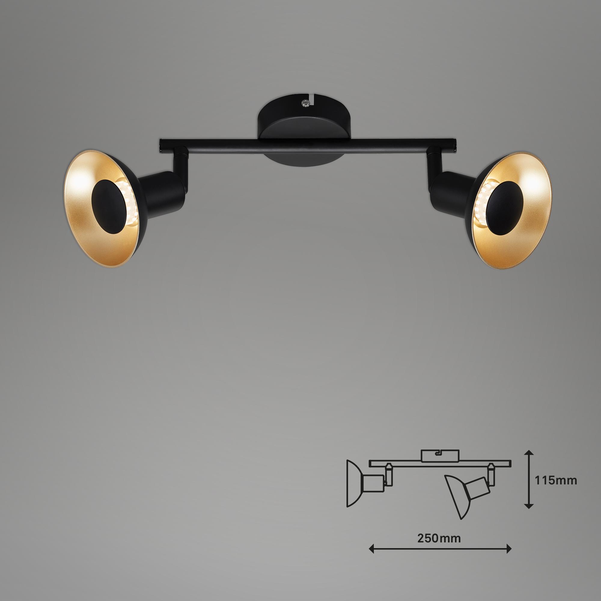 Spot Deckenleuchte, 25 cm, 10 W, Schwarz-Gold
