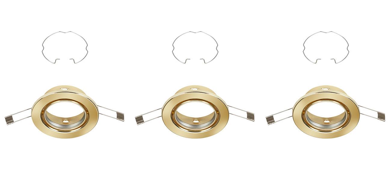 3er Set Einbauleuchte, Ø 8,6 cm, Gold