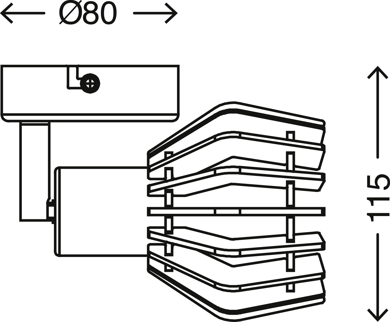 LED Spot Wandleuchte, Ø 8 cm, max. 5,5 W, Schwarz-Gold-Holz