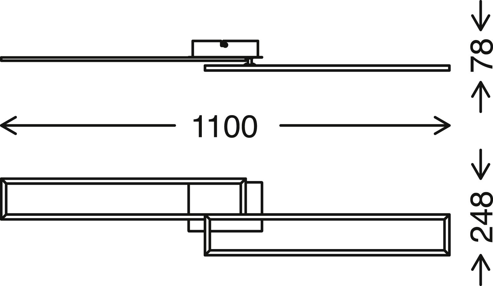 CCT LED Deckenleuchte, 110 cm, 4400 LM, 40 W, Schwarz