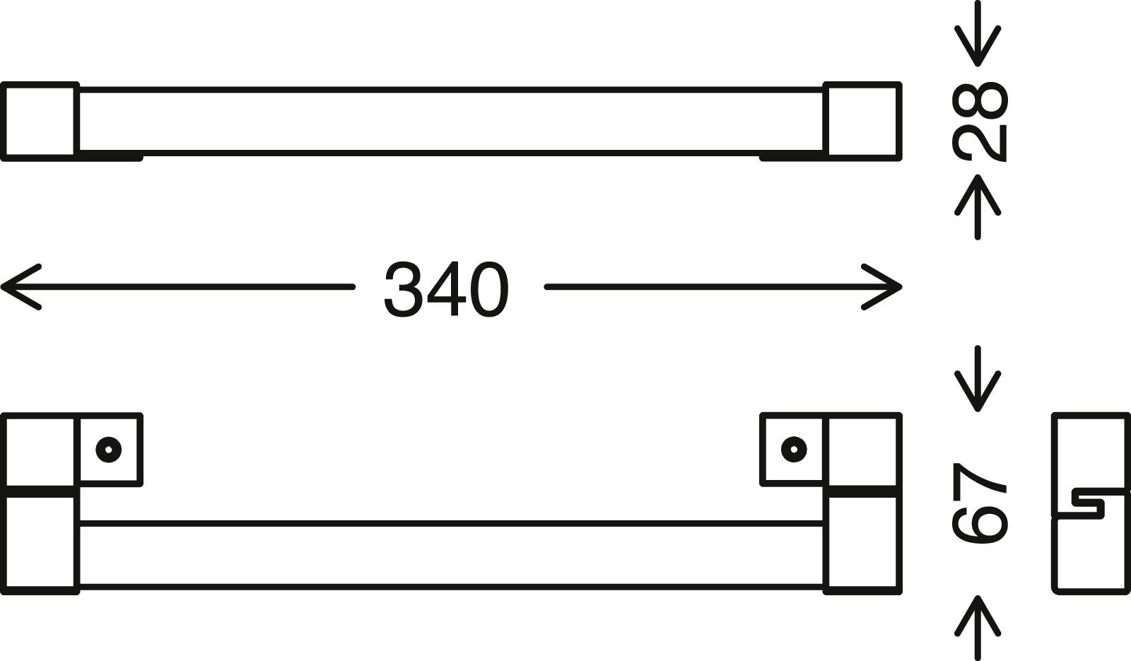 LED Spiegelleuchte, 34 cm, 8 W, Schwarz