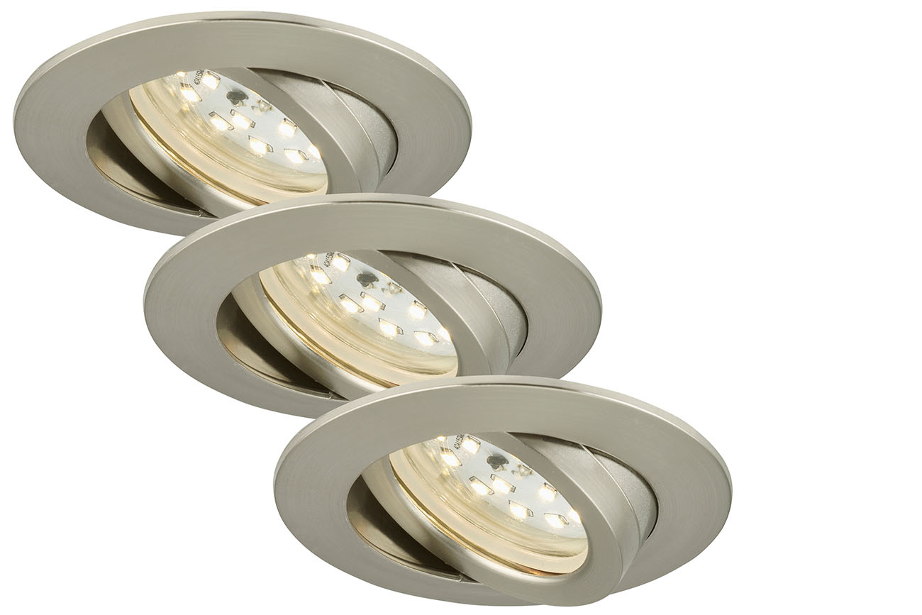 3er Set LED Einbauleuchte, Ø 8,2 cm, 5 W, Matt-Nickel