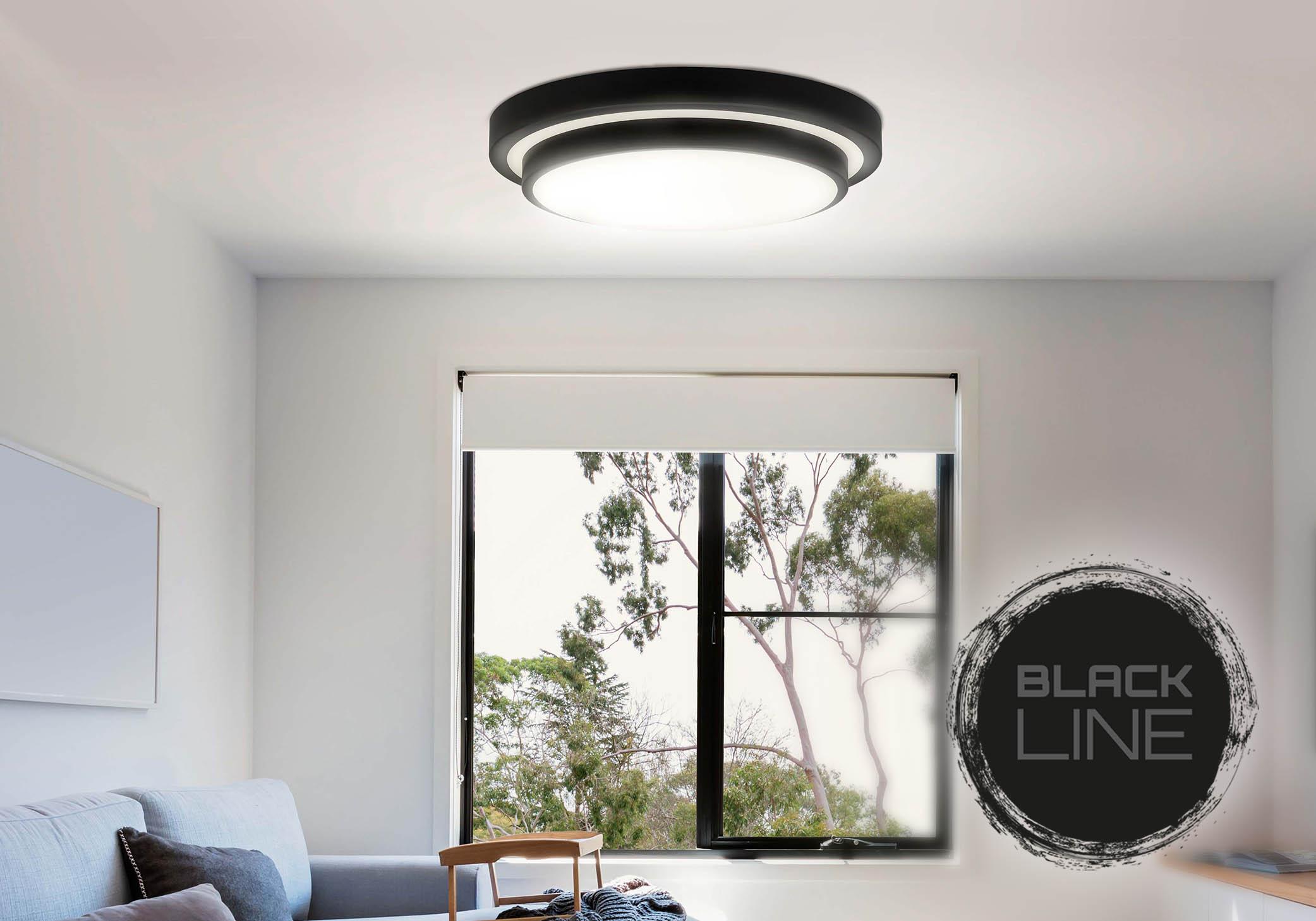 Black Line LED Deckenleuchte im Wohnzimmer