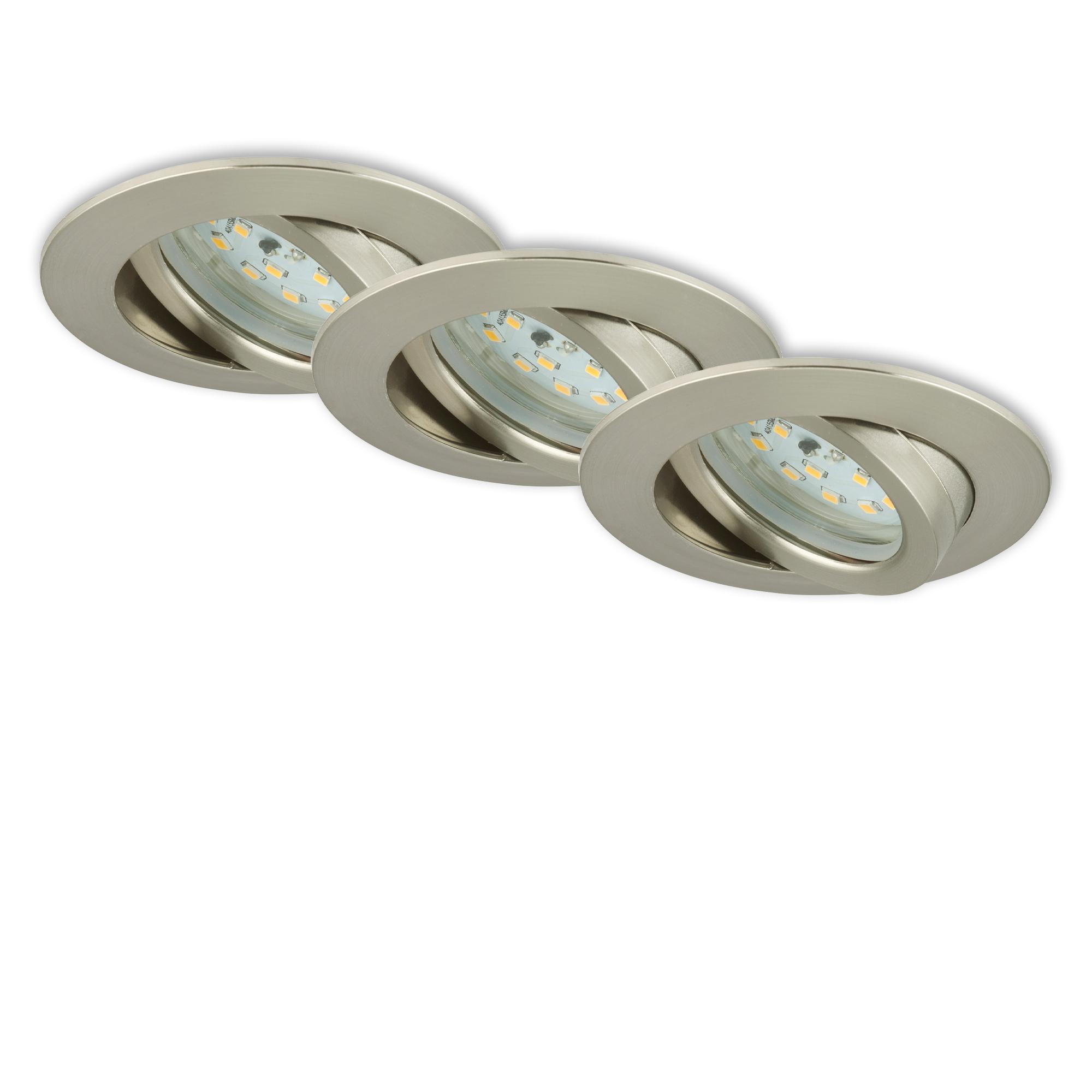 3er Set LED Einbauleuchte, Ø 8,2 cm, 6,5 W, Matt-Nickel
