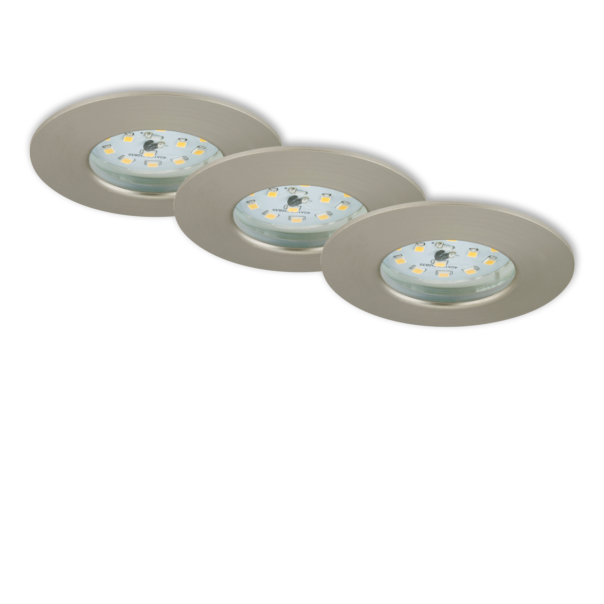3er Set LED Einbauleuchte, Ø 7,5 cm, Matt-Nickel