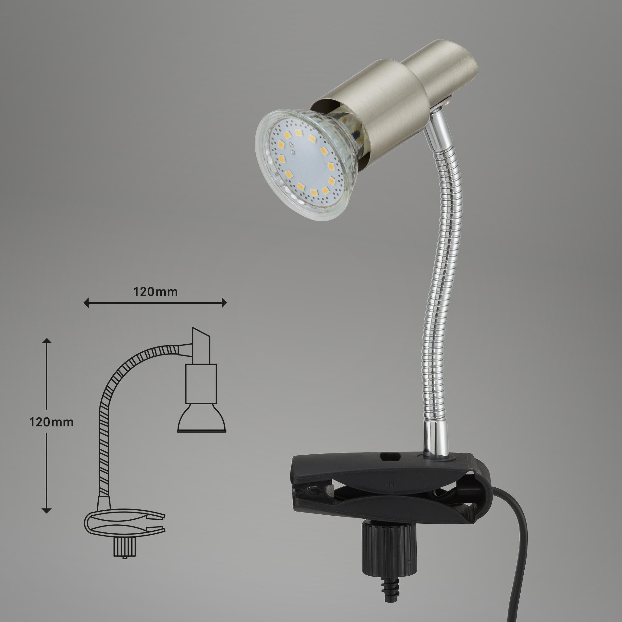 LED Klemmleuchte Matt-Nickel