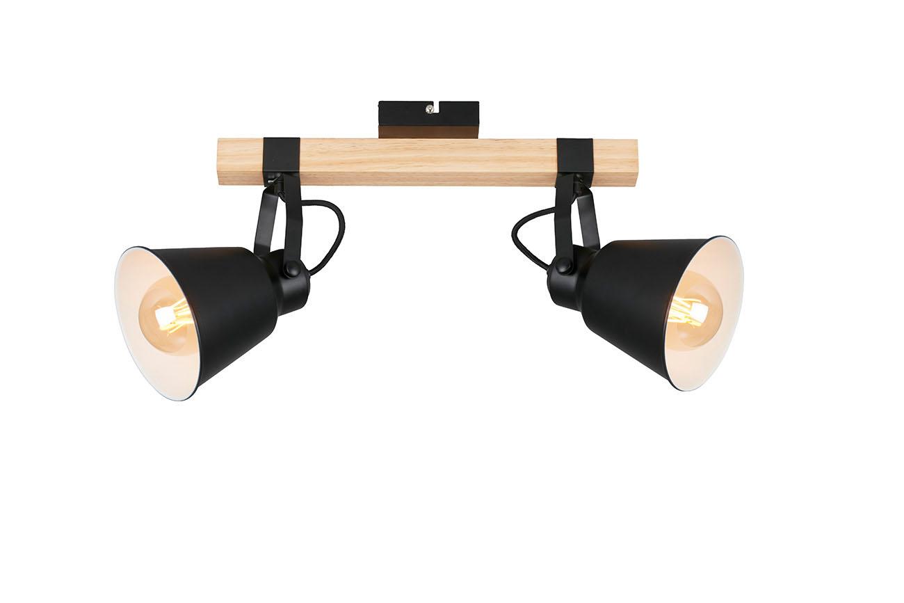 Spot Deckenleuchte, 40 cm, max. 40 W, Schwarz-Holz
