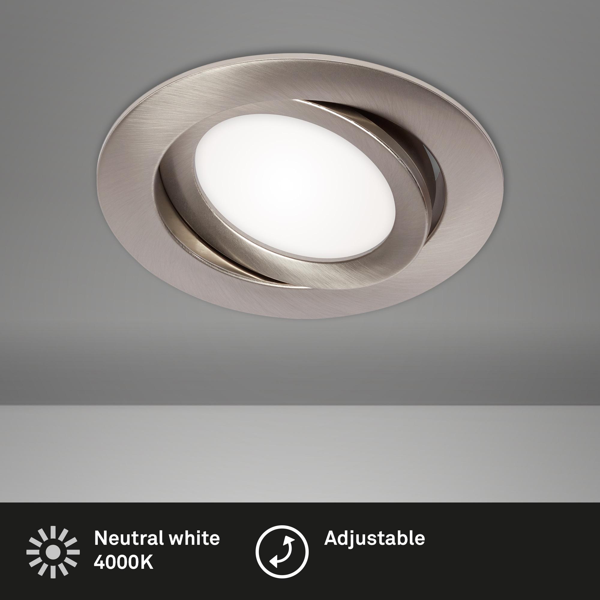 LED Einbauleuchte, Ø 10,6 cm, 7 W, Matt-Nickel