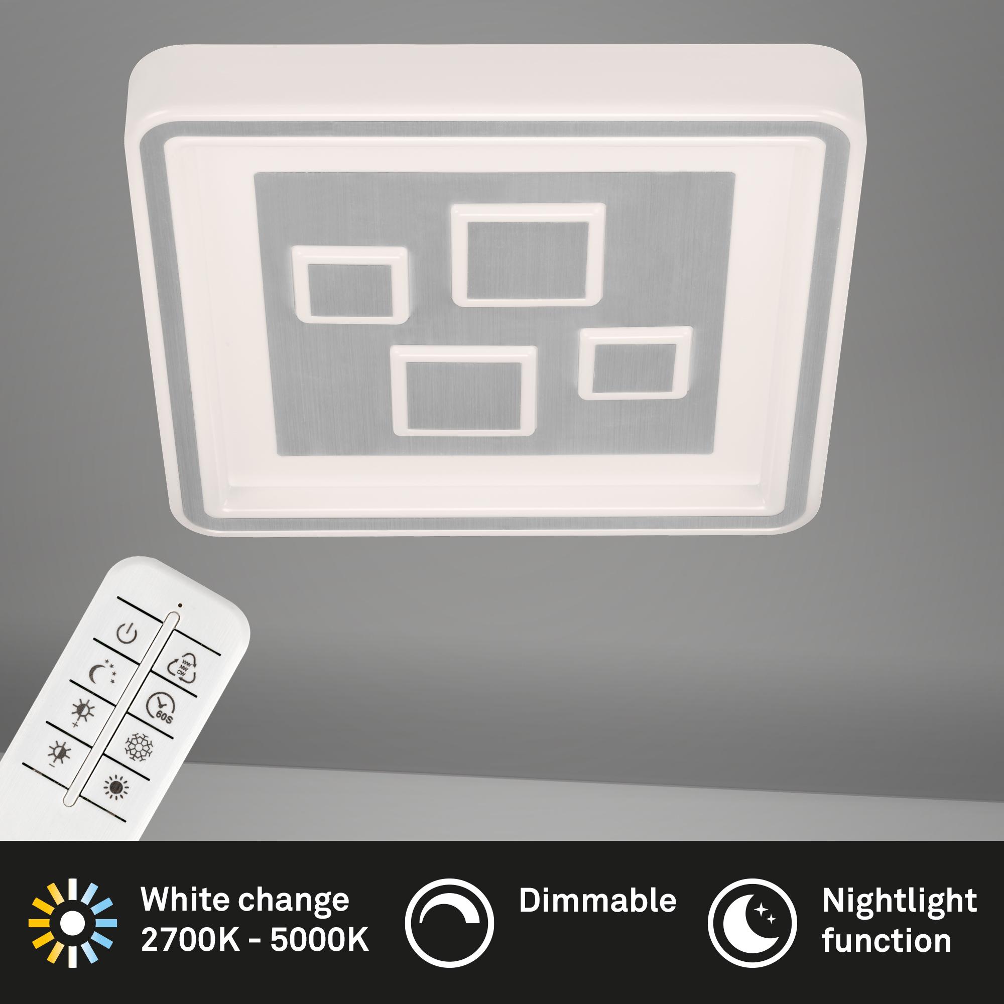 CCT LED Deckenleuchte, 49 cm, 42 W, Alu-Weiss