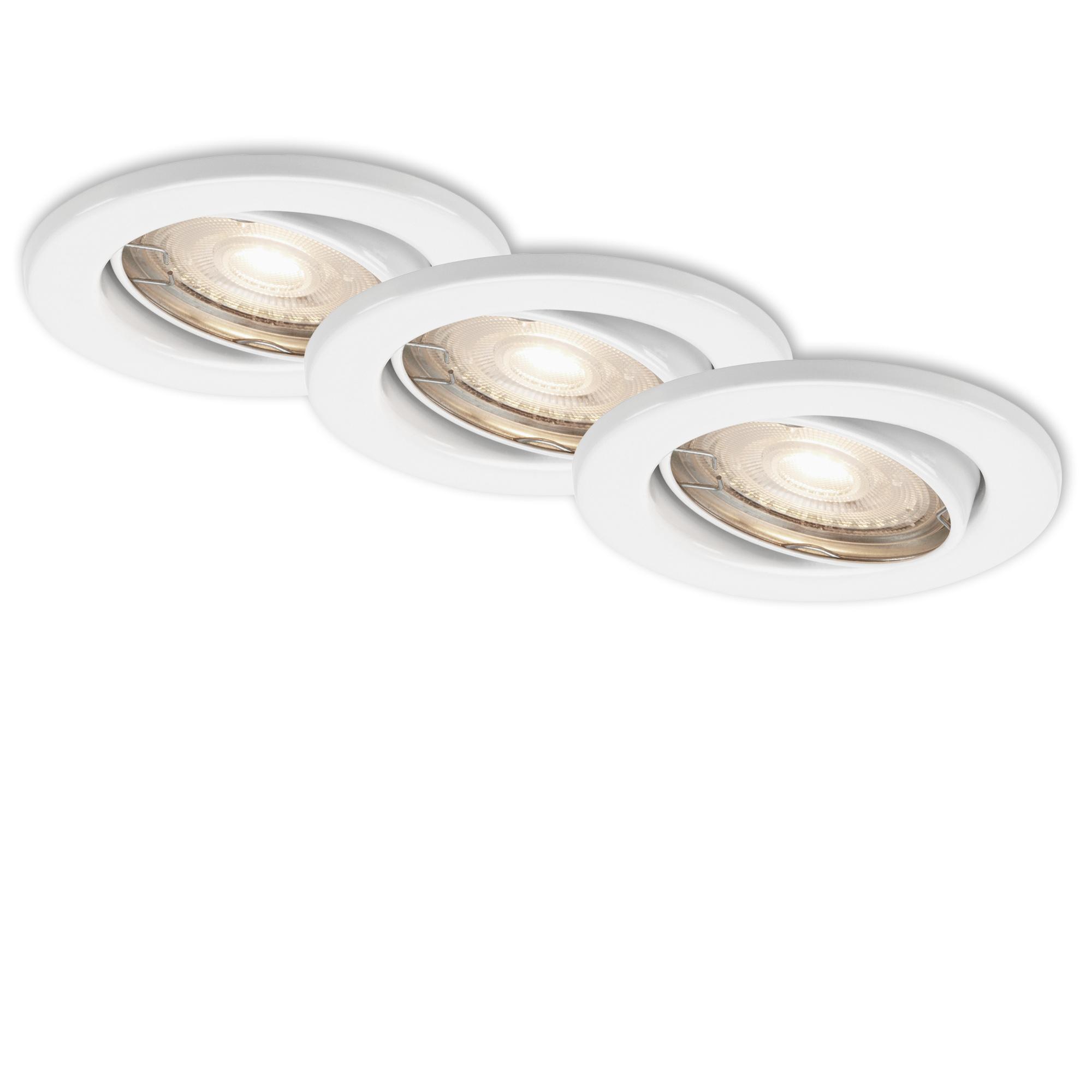 3er Set LED Einbauleuchte, Ø 8,6 cm, 3,5 W, Weiß