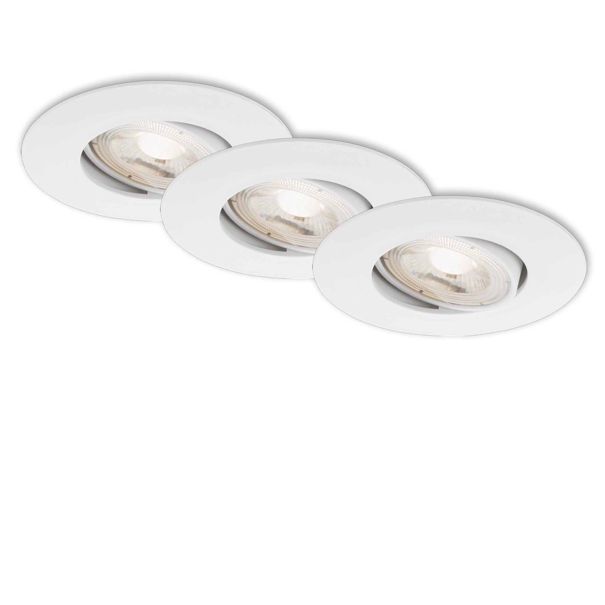 3er Set Ultraflache LED Einbauleuchte, Ø 9 cm, 5 W, Weiß