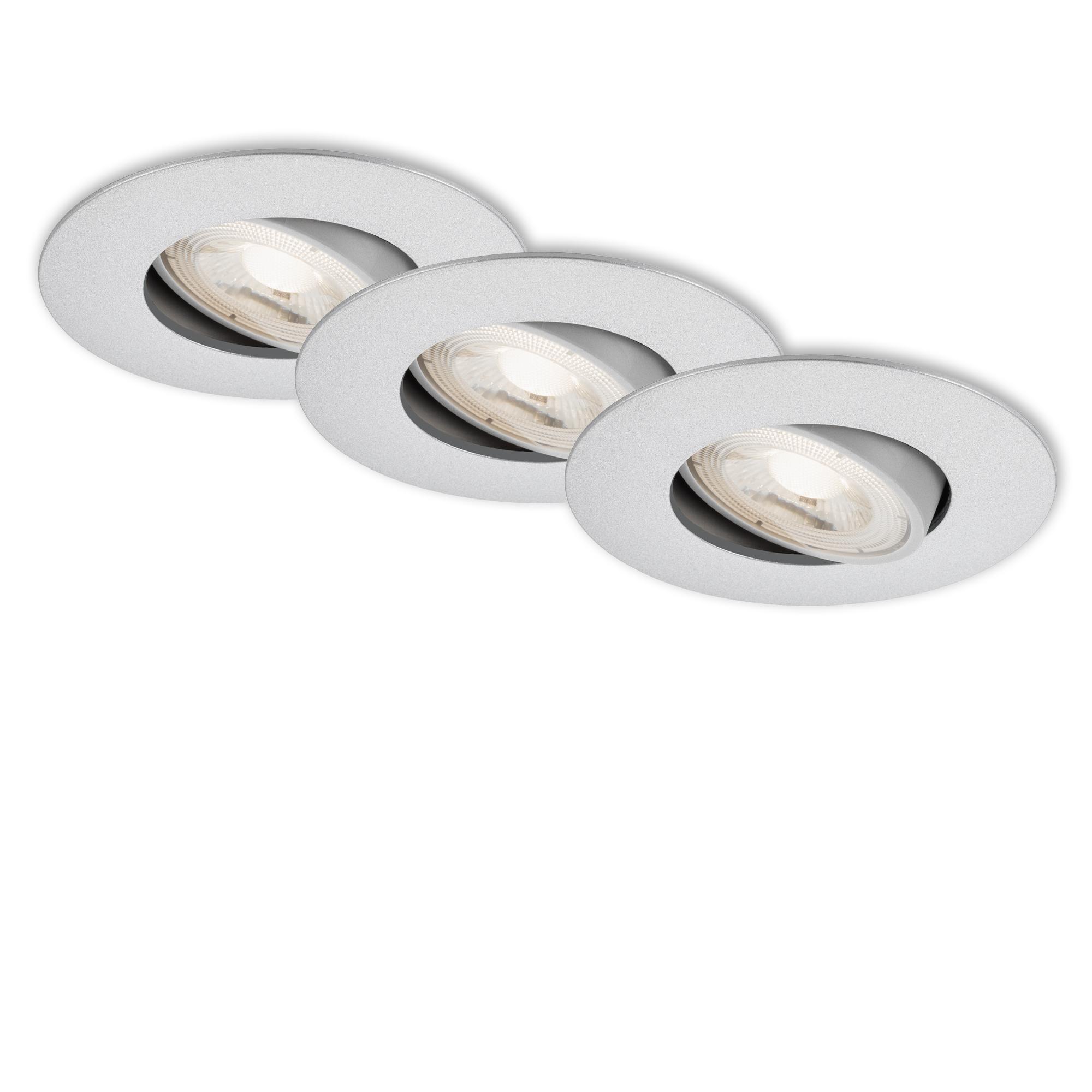 3er Set Ultraflache LED Einbauleuchte, Ø 9 cm, 5 W, Chrom-Matt