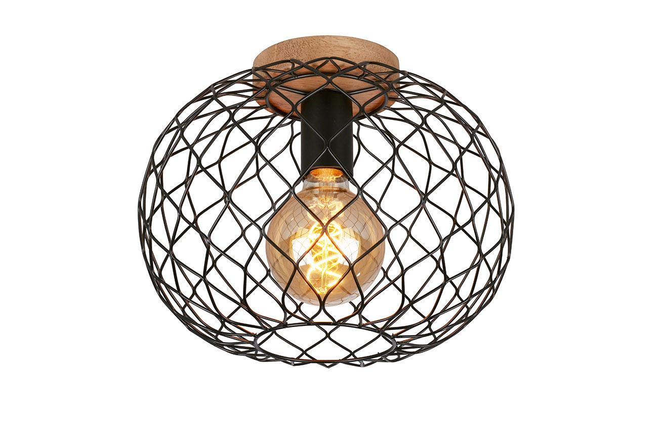 LED Deckenleuchte, Ø 30 cm, max. 40 W, Schwarz-Holz