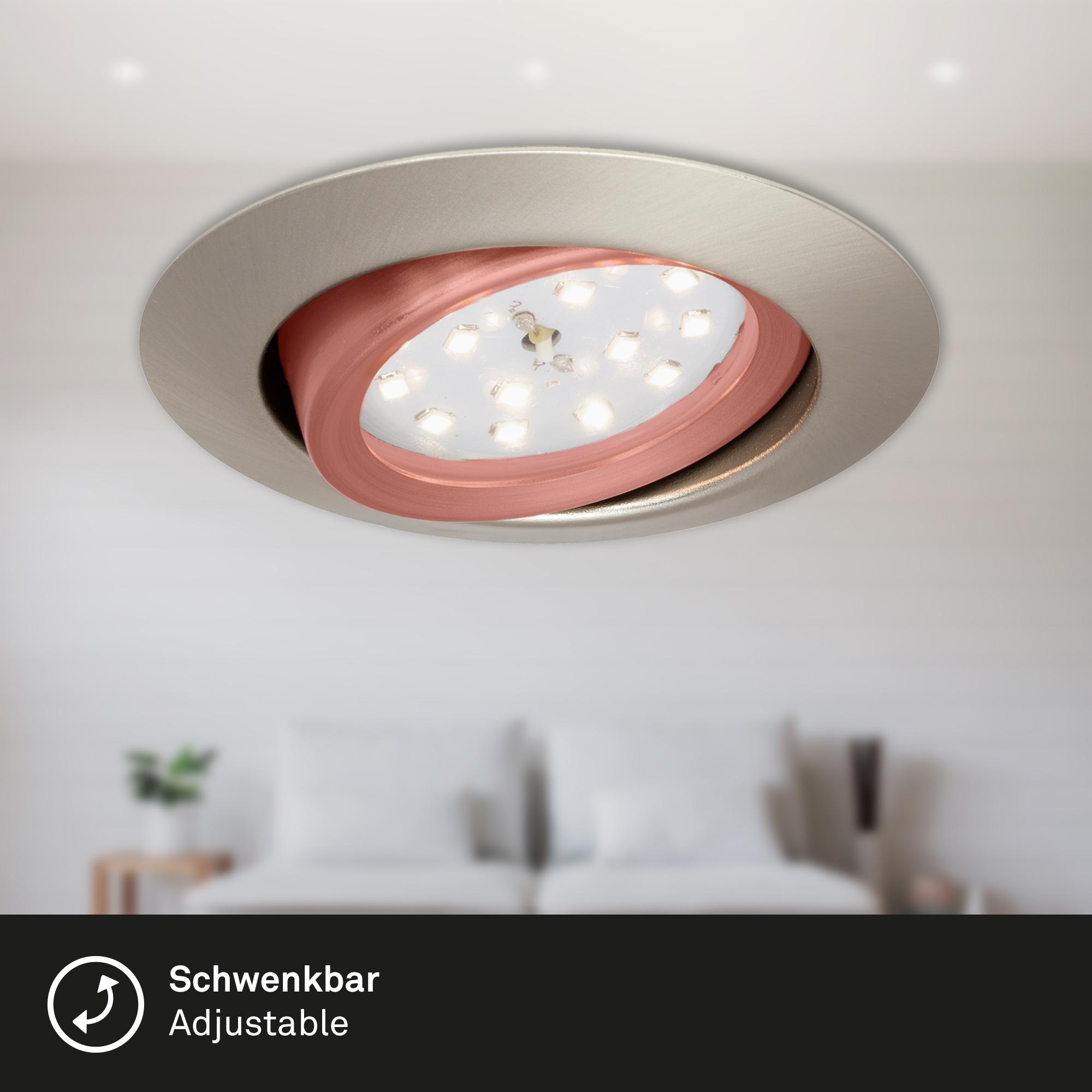 3er Set LED Einbauleuchte, Ø 8,2 cm, 3 W, Matt-Nickel