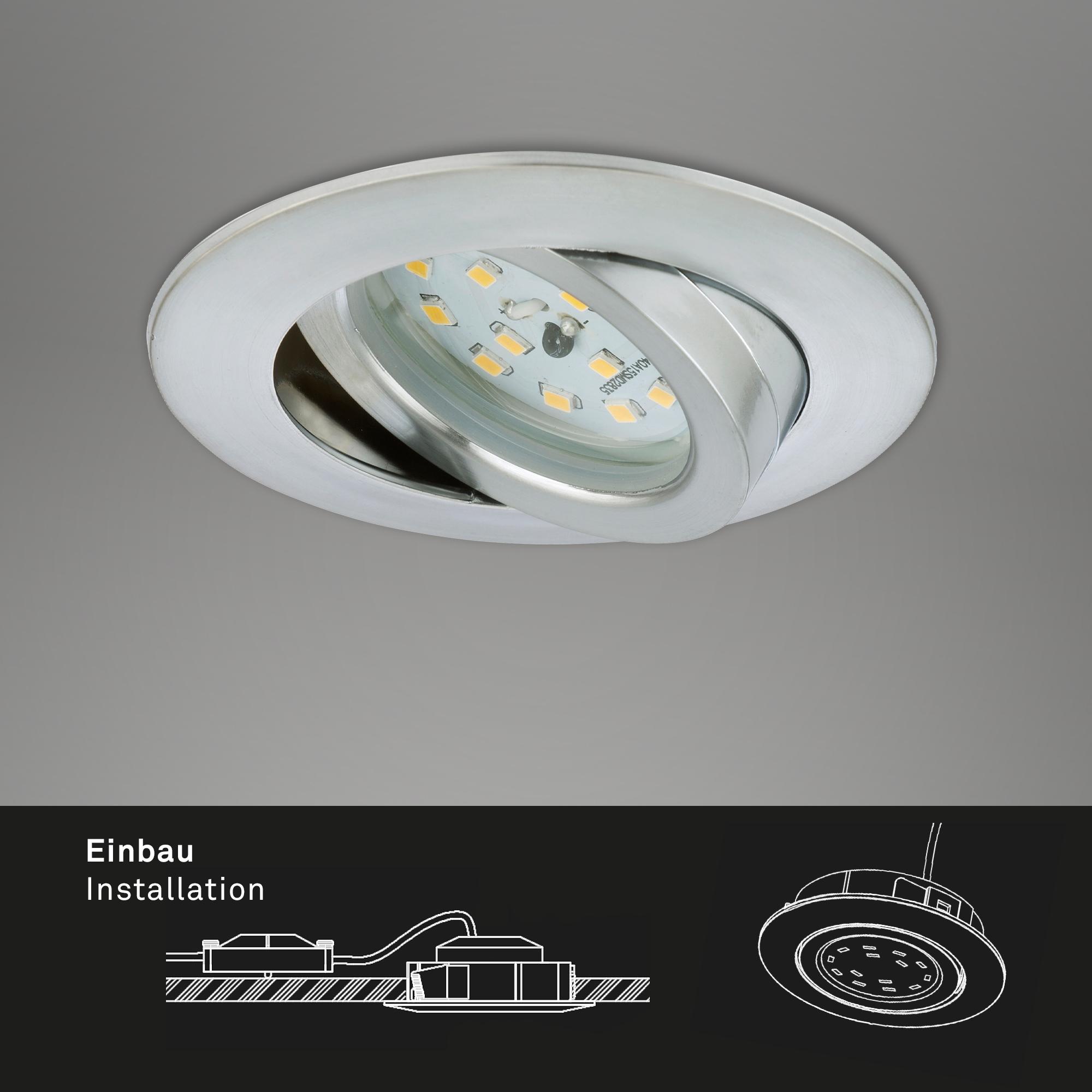 LED Einbauleuchte, Ø 8,2 cm, 6,5 W, Alu