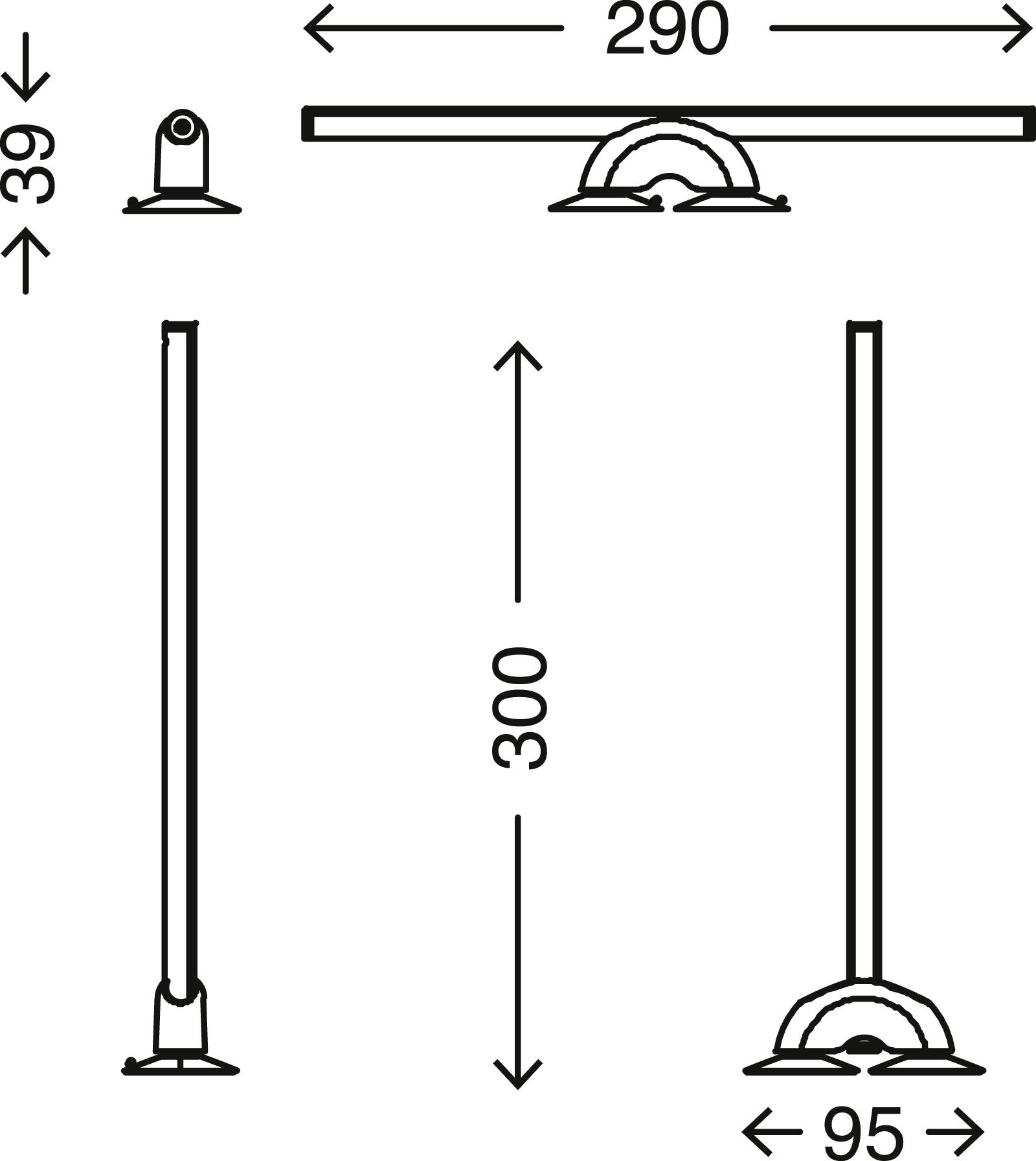 LED Spiegelleuchte, 29 cm, 7 W, 300-340 lm, Alu