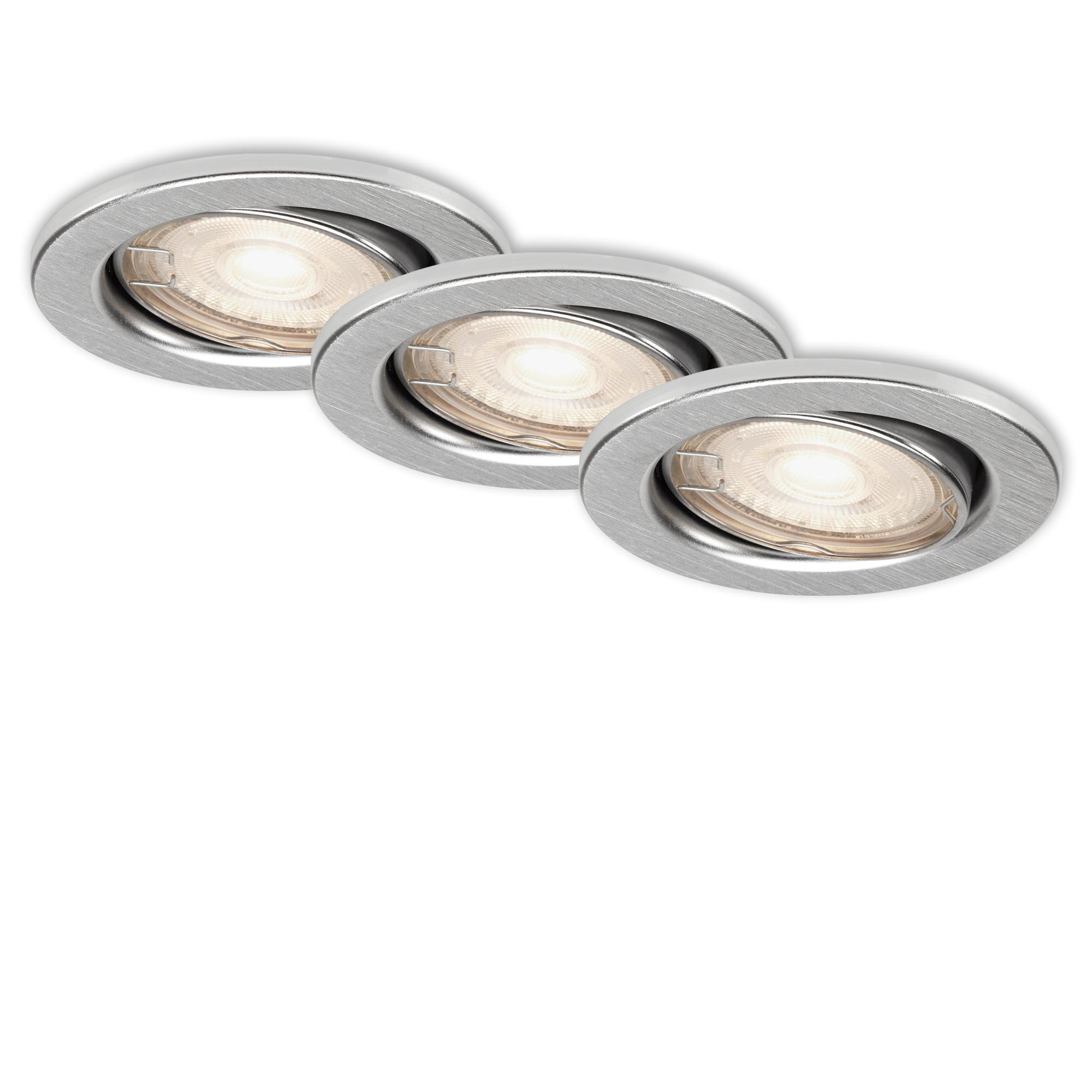 3er LED Einbauleuchte, Ø 8,6 cm, 5 W, Alu