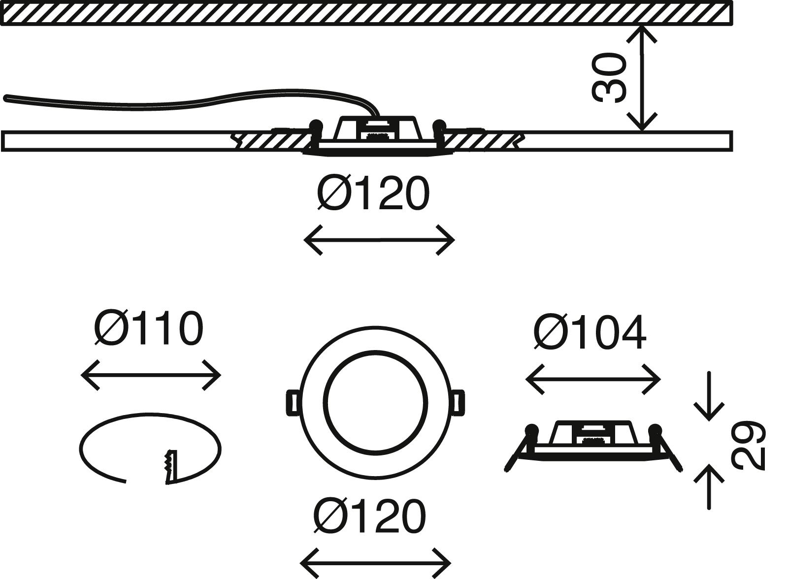 LED Einbauleuchte, Ø 12 cm, 6,4 W, Weiß