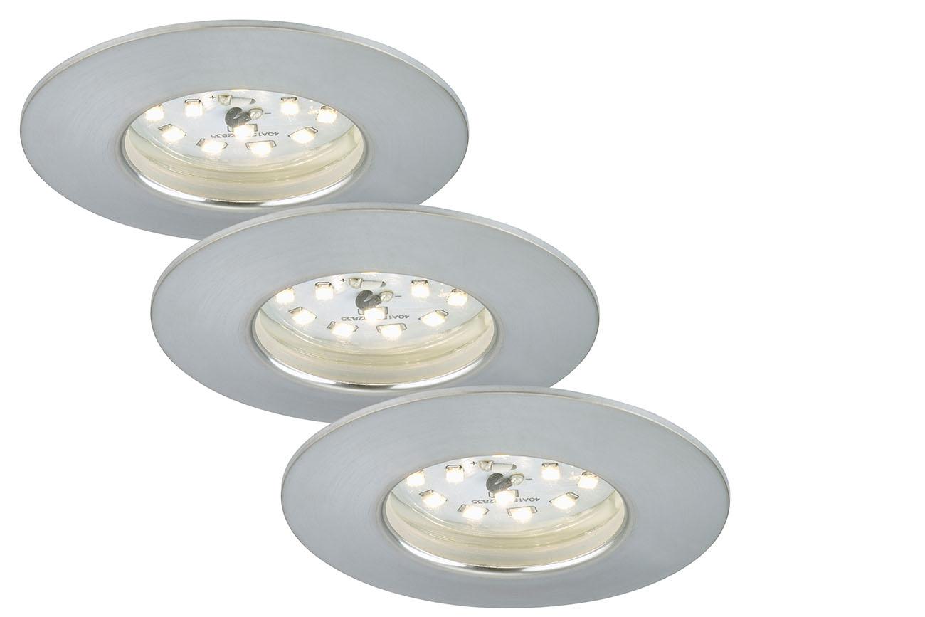 3er Set LED Einbauleuchte, Ø 7,5 cm, 5,5 W, Alu