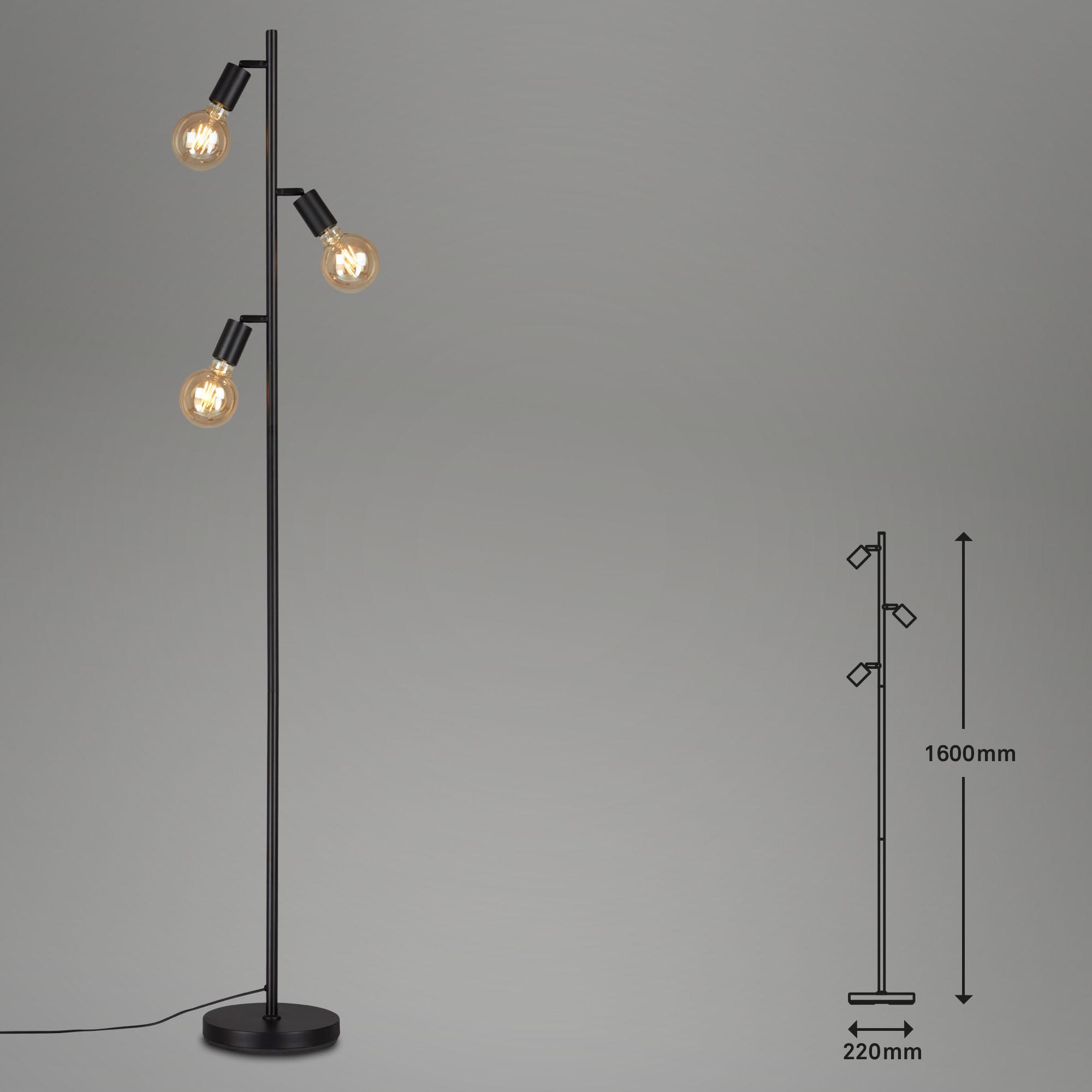 Stehleuchte, 160 cm, max. 10 W, Schwarz