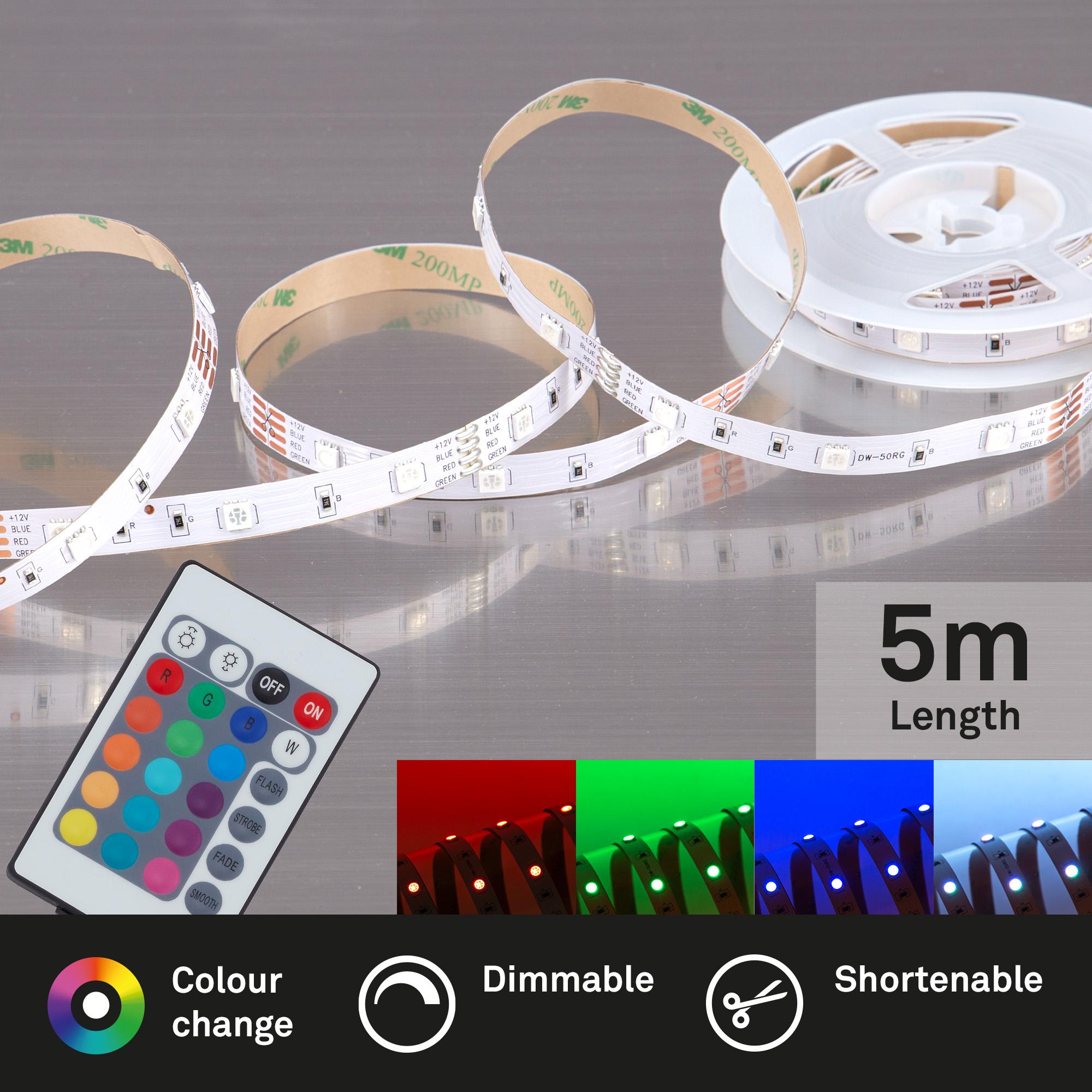 RGB LED Flexband Weiß Fernbedienung