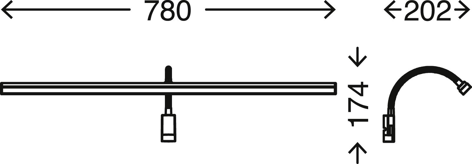 LED Spiegelleuchte, 78 cm, 8,5 W, Chrom