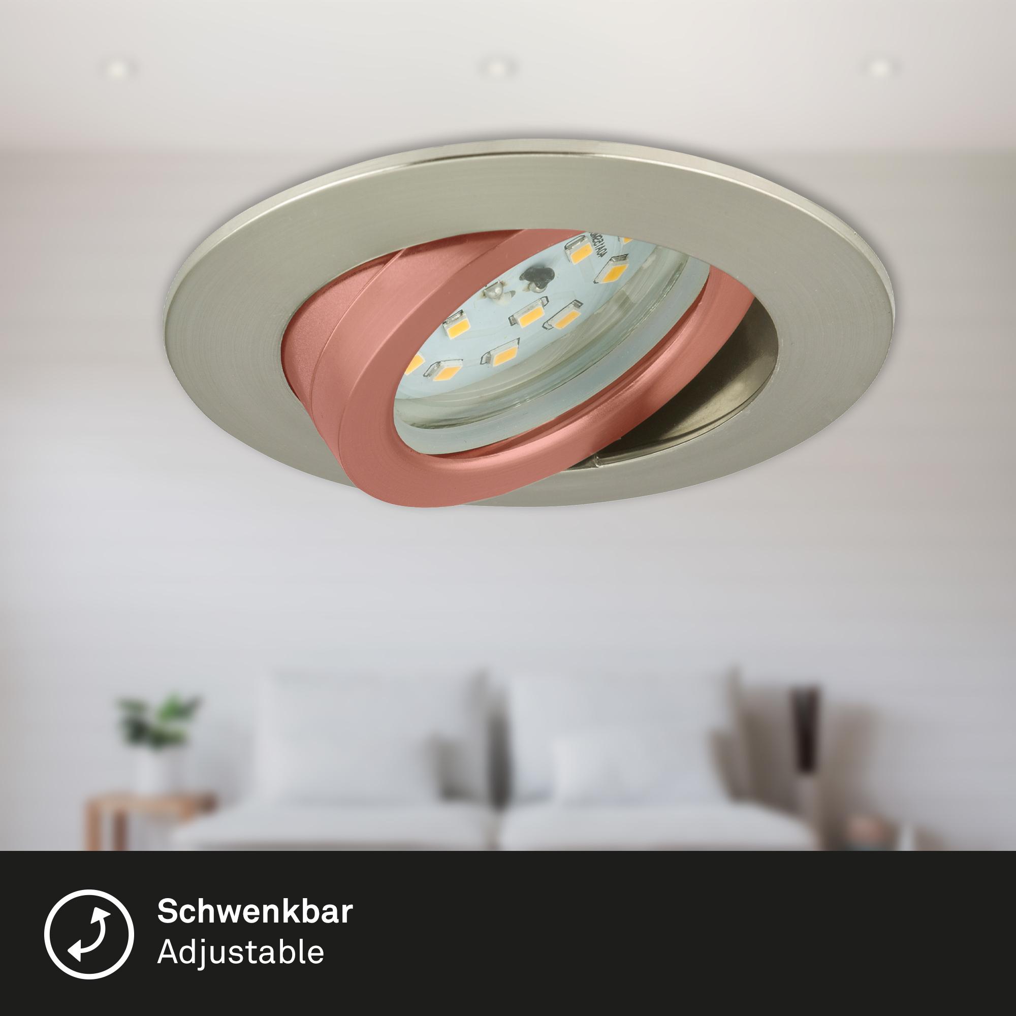 LED Einbauleuchte, Ø 8,2 cm, 5,5 W, Matt-Nickel