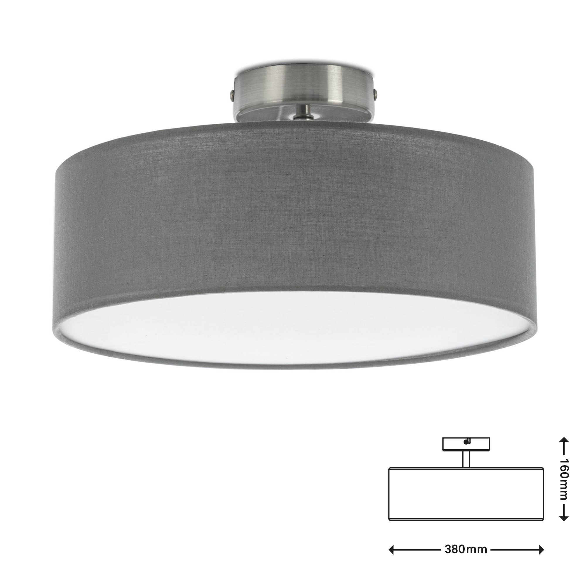 Stoff Deckenleuchte, Ø 38 cm, max. 40 W, Grau