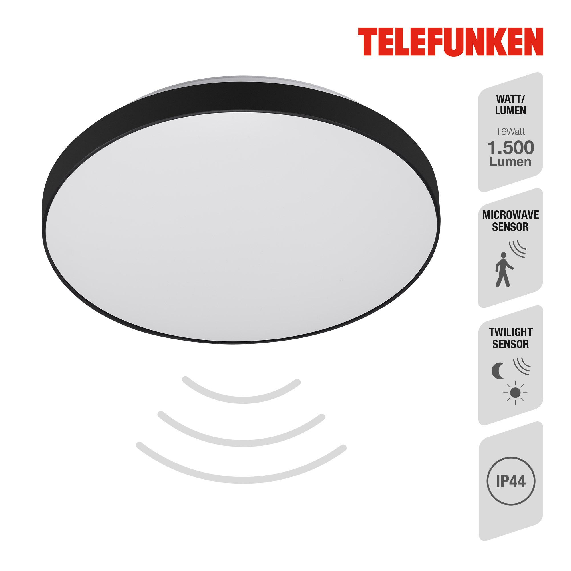 TELEFUNKEN Sensor LED Deckenleuchte, Ø 29 cm, 16 W, Weiß-Schwarz