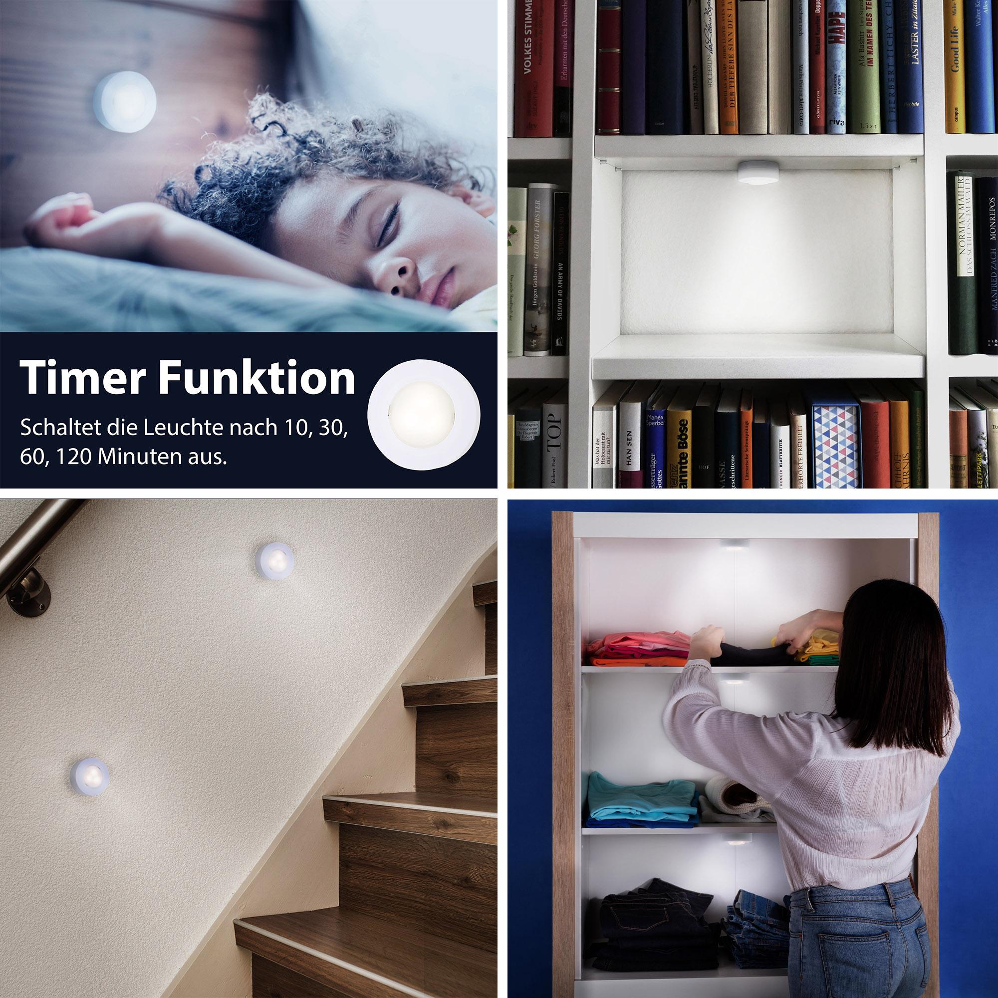 6er-Set LED Push Light, Ø 5,8 cm, 0,8 W, Weiss