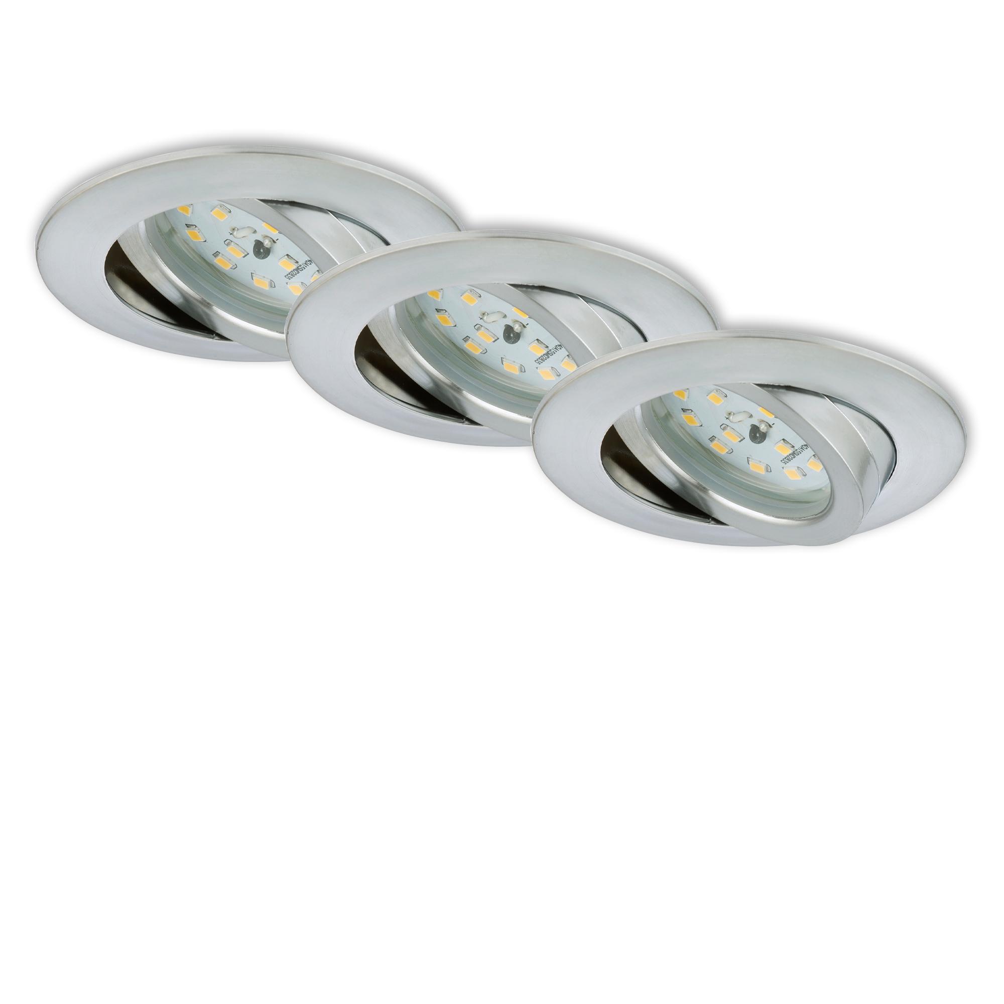 3er Set LED Einbauleuchte, Ø 8,2 cm, 6,5 W, Alu
