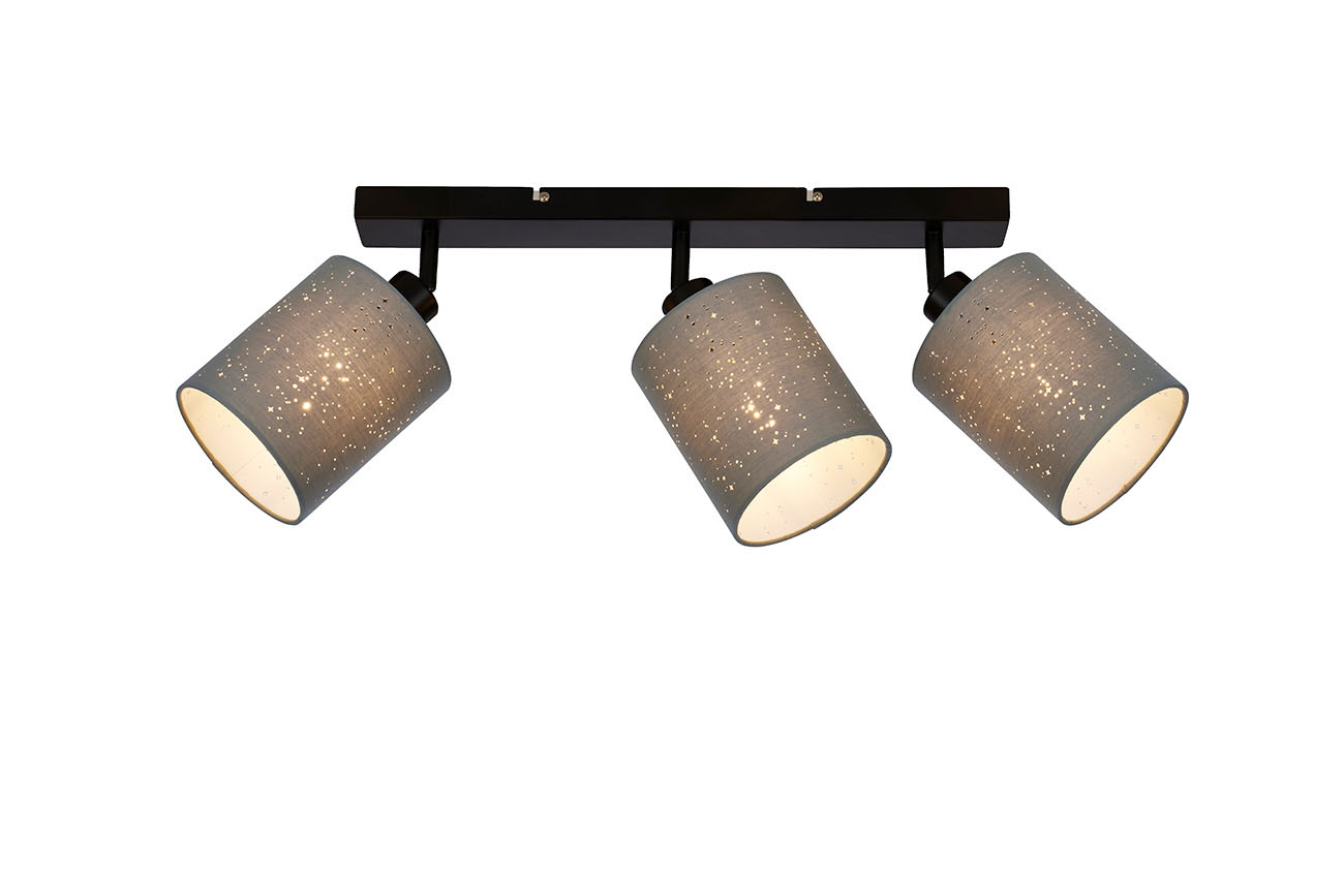 LED Spot Deckenleuchte, 47,5 cm, max. 25 W, Grau-Schwarz