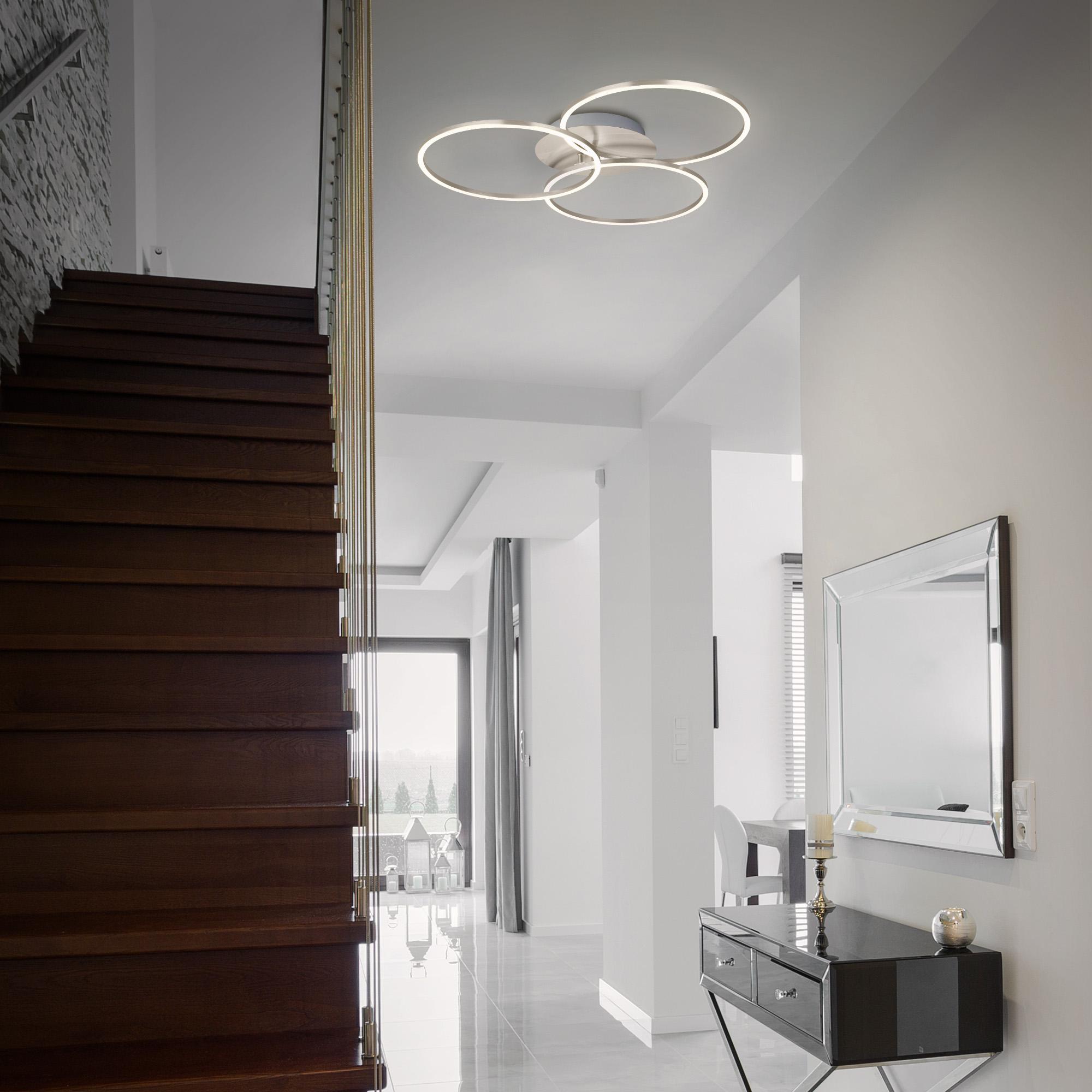 LED Deckenleuchte, 71,7 cm, 40 W, Matt-Nickel