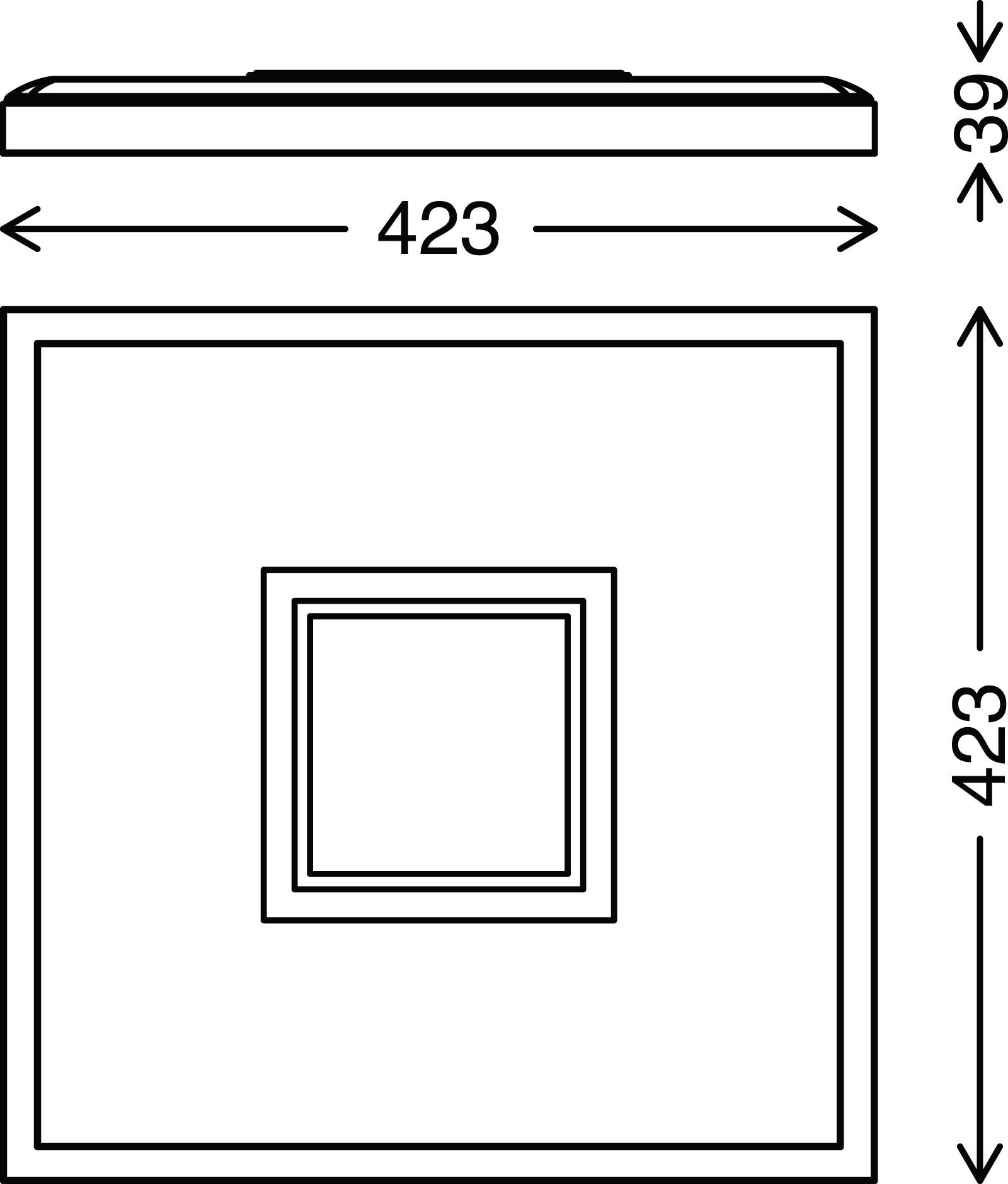 LED Panel, 42,3 cm, 3000 LUMEN, 22 WATT, Matt-Nickel