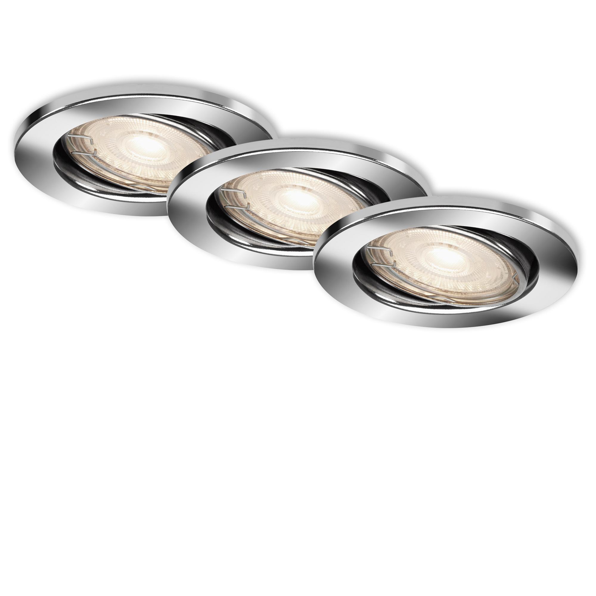 3er Set LED Einbauleuchte, Ø 8,6 cm, 3,5 W, Chrom