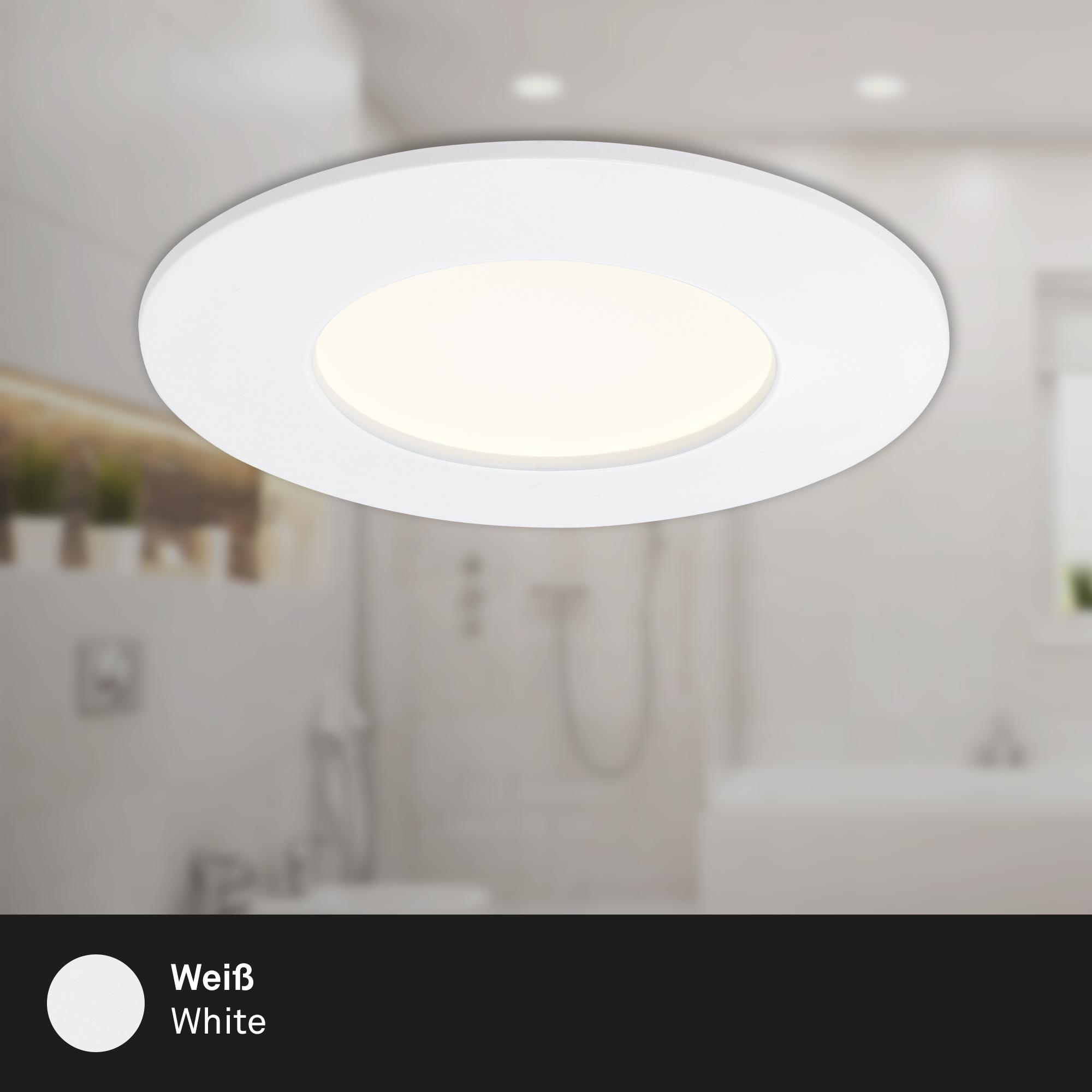 3er Set LED Einbauleuchte, Ø 8,5 cm, 4,8W, Weiß