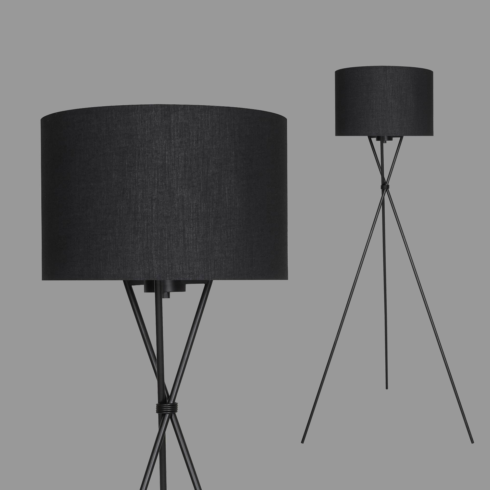 LED Stehleuchte, max. 60 W, 148 cm, Schwarz