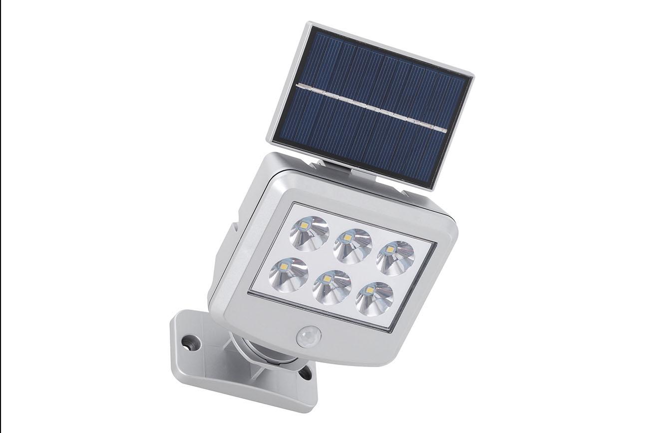 LED Solar Außenleuchte, 12,8 cm, 3 W, Silber